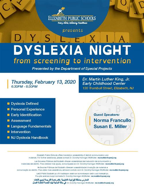 "The Elizabeth Public Schools presents ""Dyslexia Night"" from screening to Intervention"