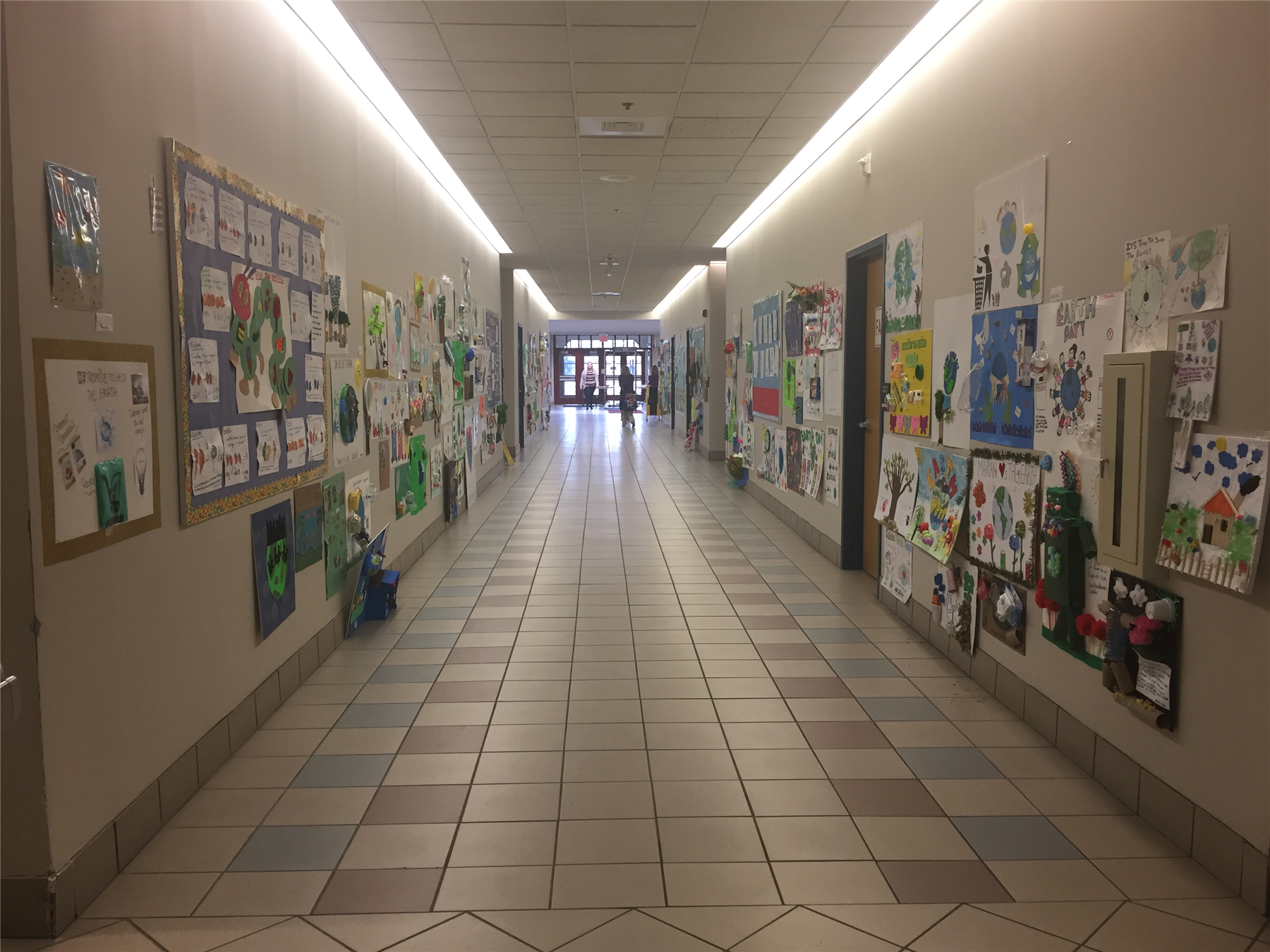 Earth Day posters in hallway