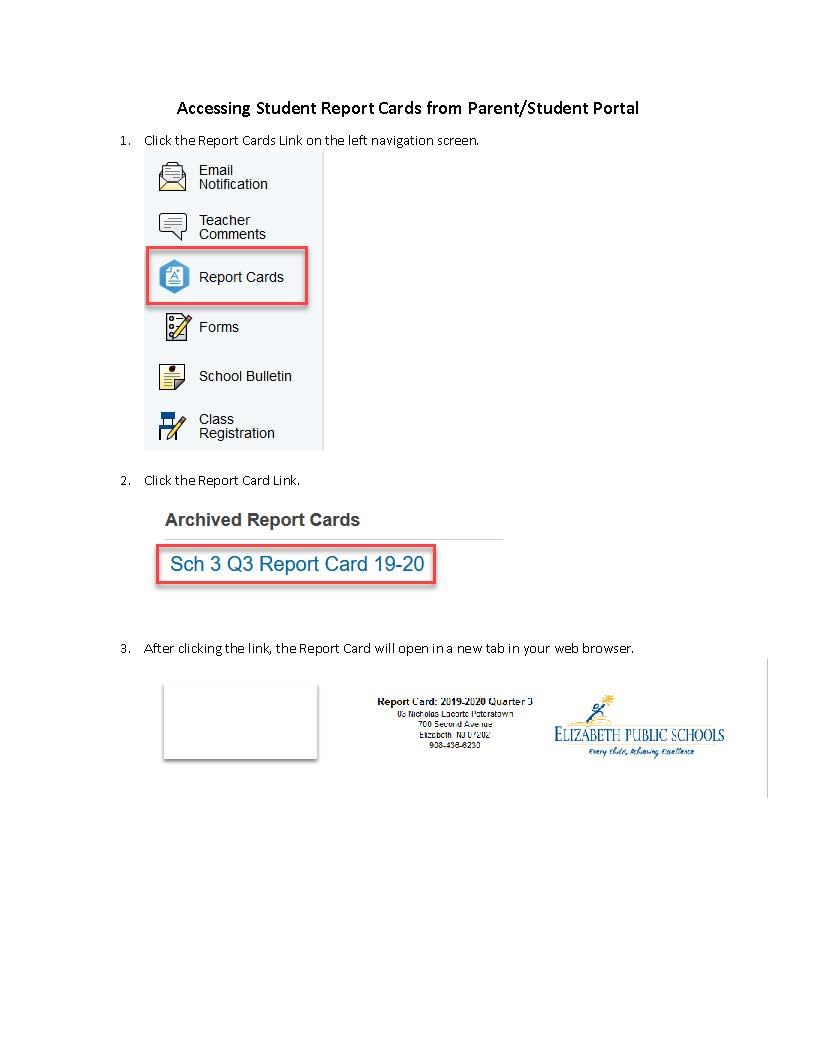 Instructions for accessing 3rd Marking Period report cards on Power School