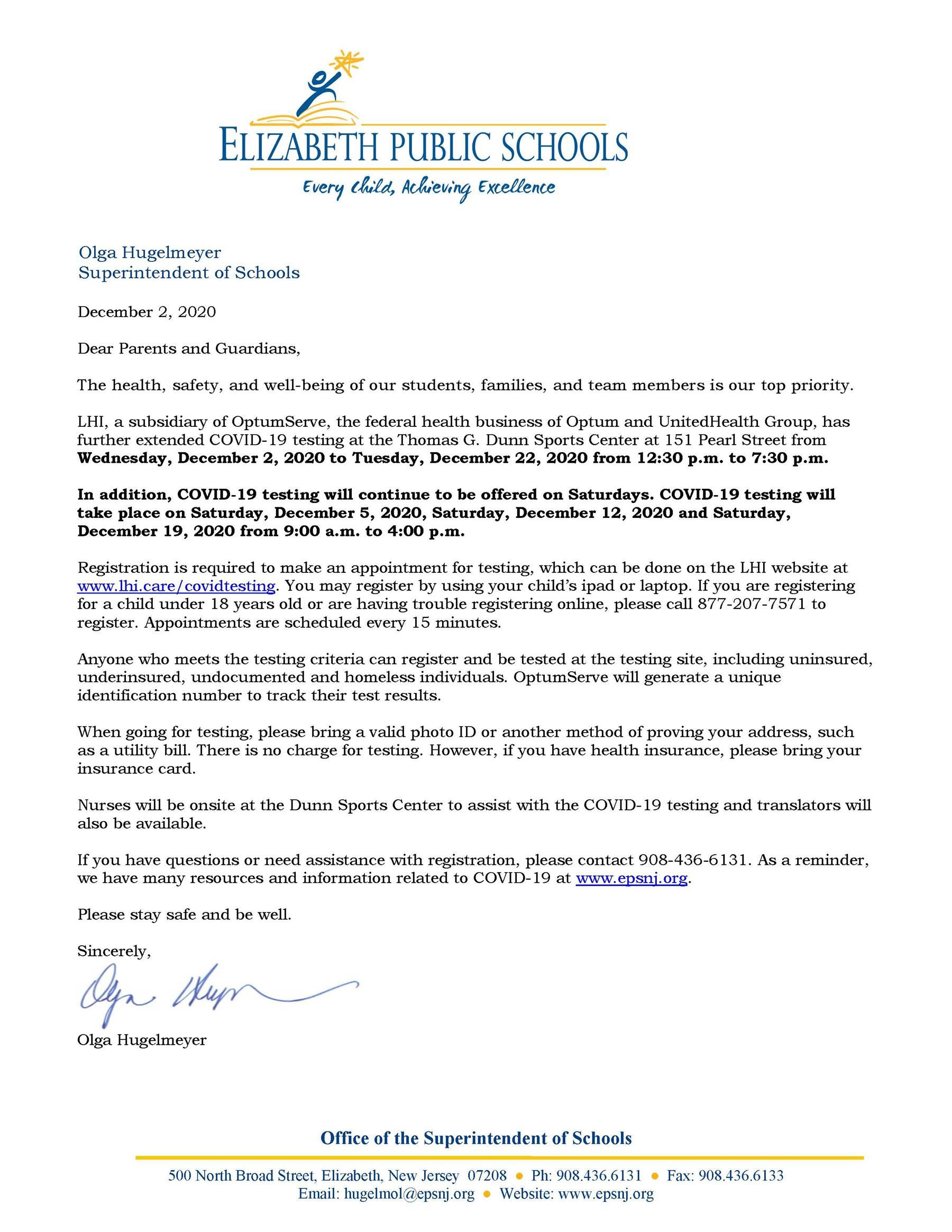 Letter to Parents-Guardians- COVID Testing at Dunn Sports Center Extended