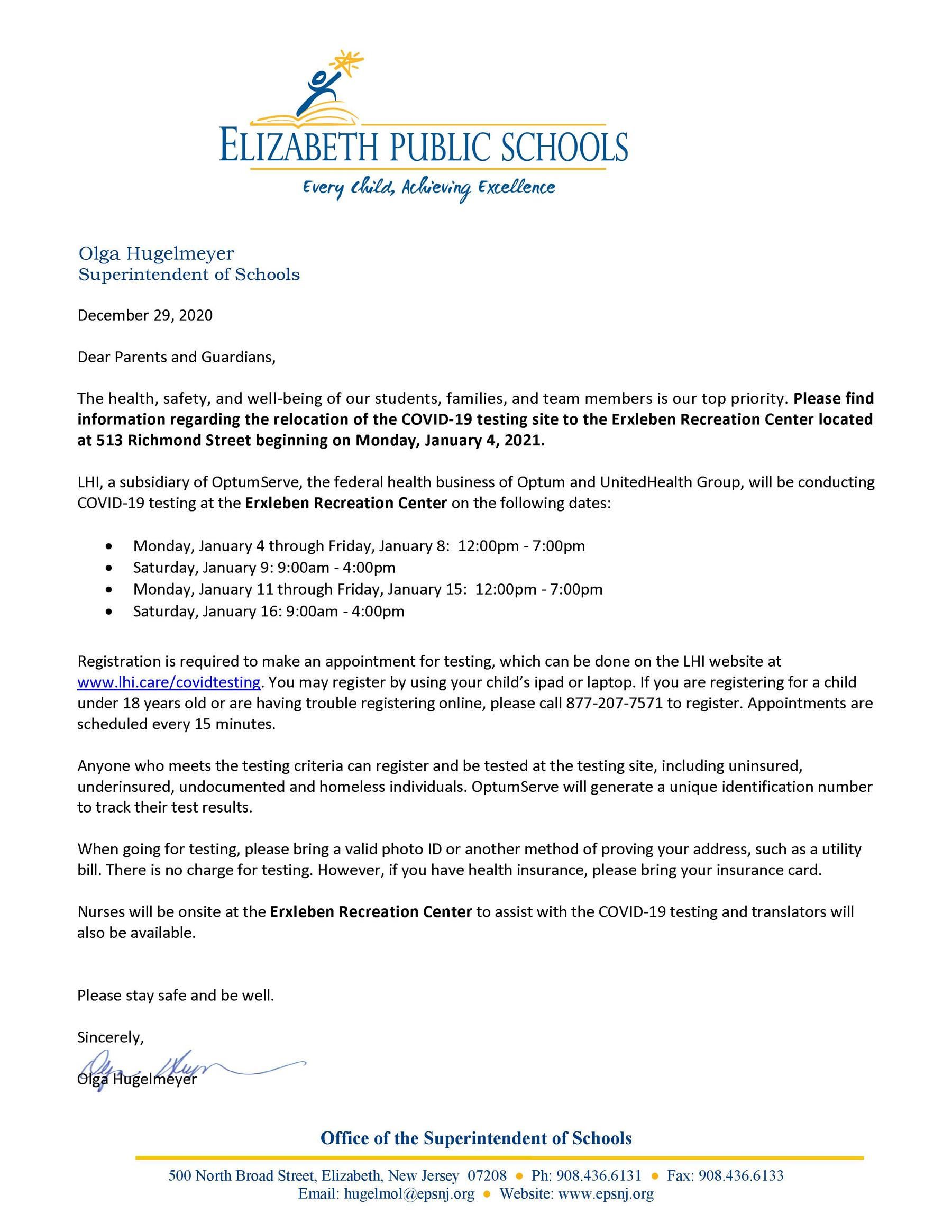 Letter to Parents-Guardians- COVID Testing Extended New Site the Erxleben Recreation Center