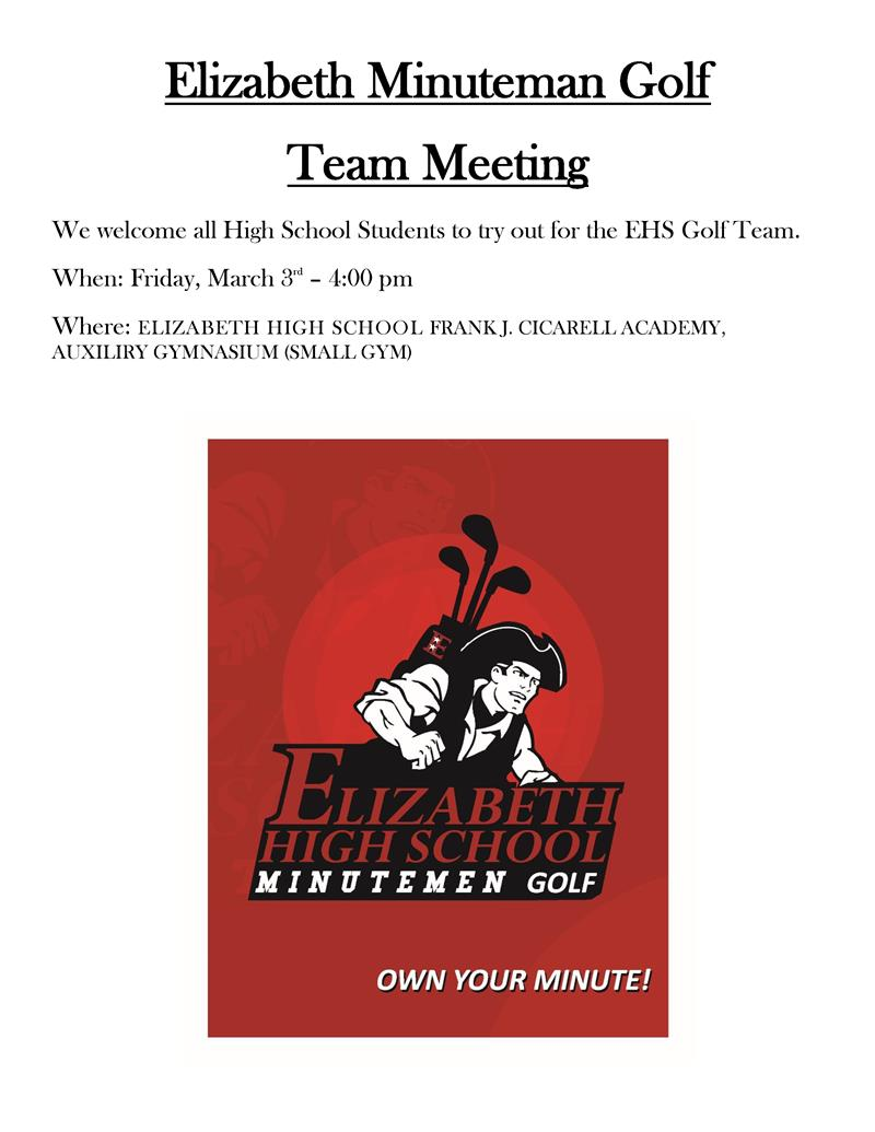 Elizabeth Minuteman Golf  Team Meeting