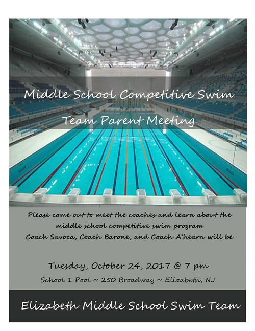 2017-18 Winter Season - MS Swim Team Parent Info Mtg One