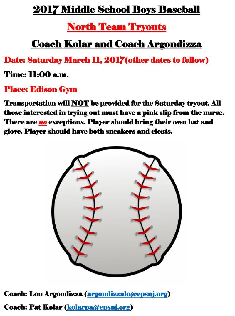 2017 Middle School Boys Baseball North Team Tryouts