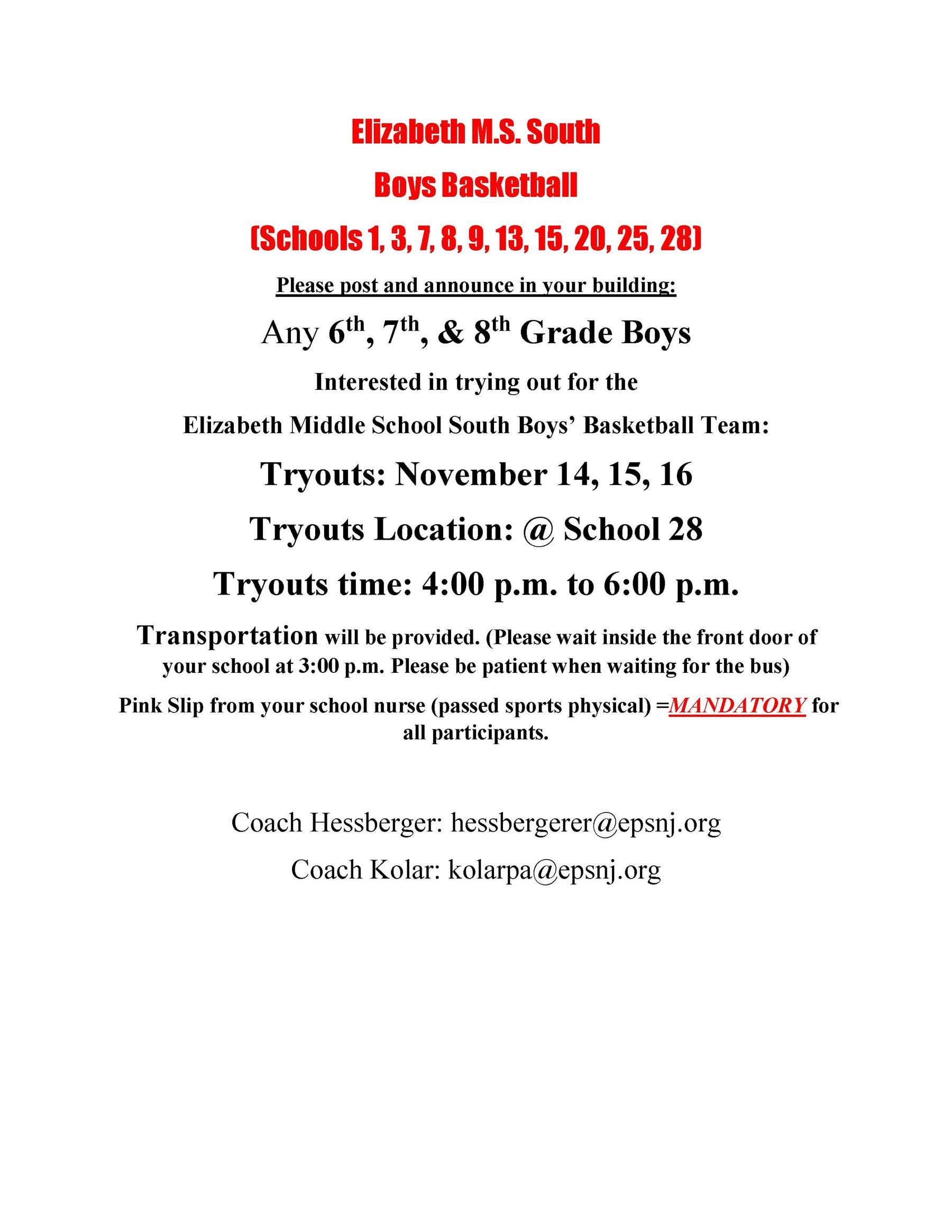 2018-19 Winter Season - Boys South MS Basketball Tryout Flyer