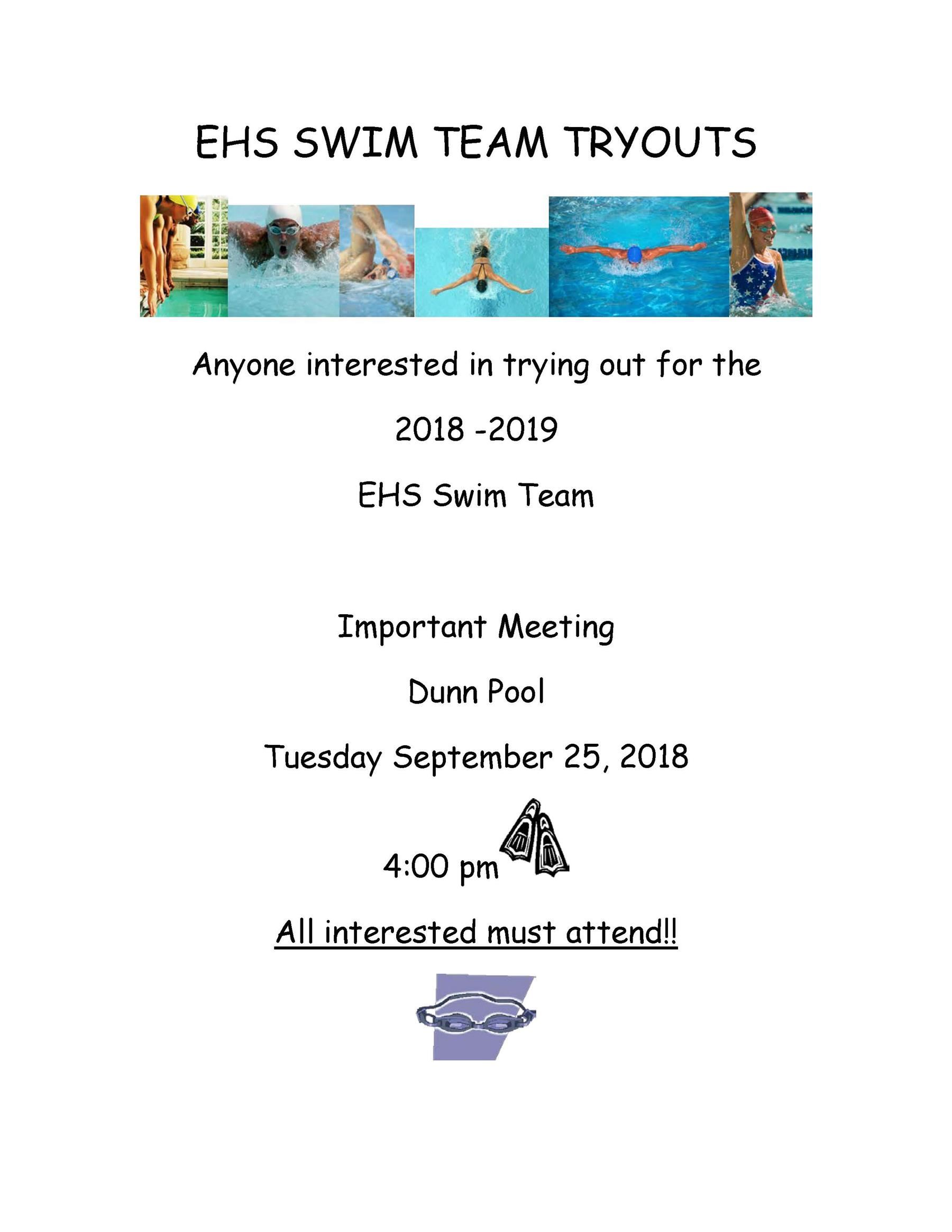 2018-19 Winter Season - SWIM TEAM TRYOUTS