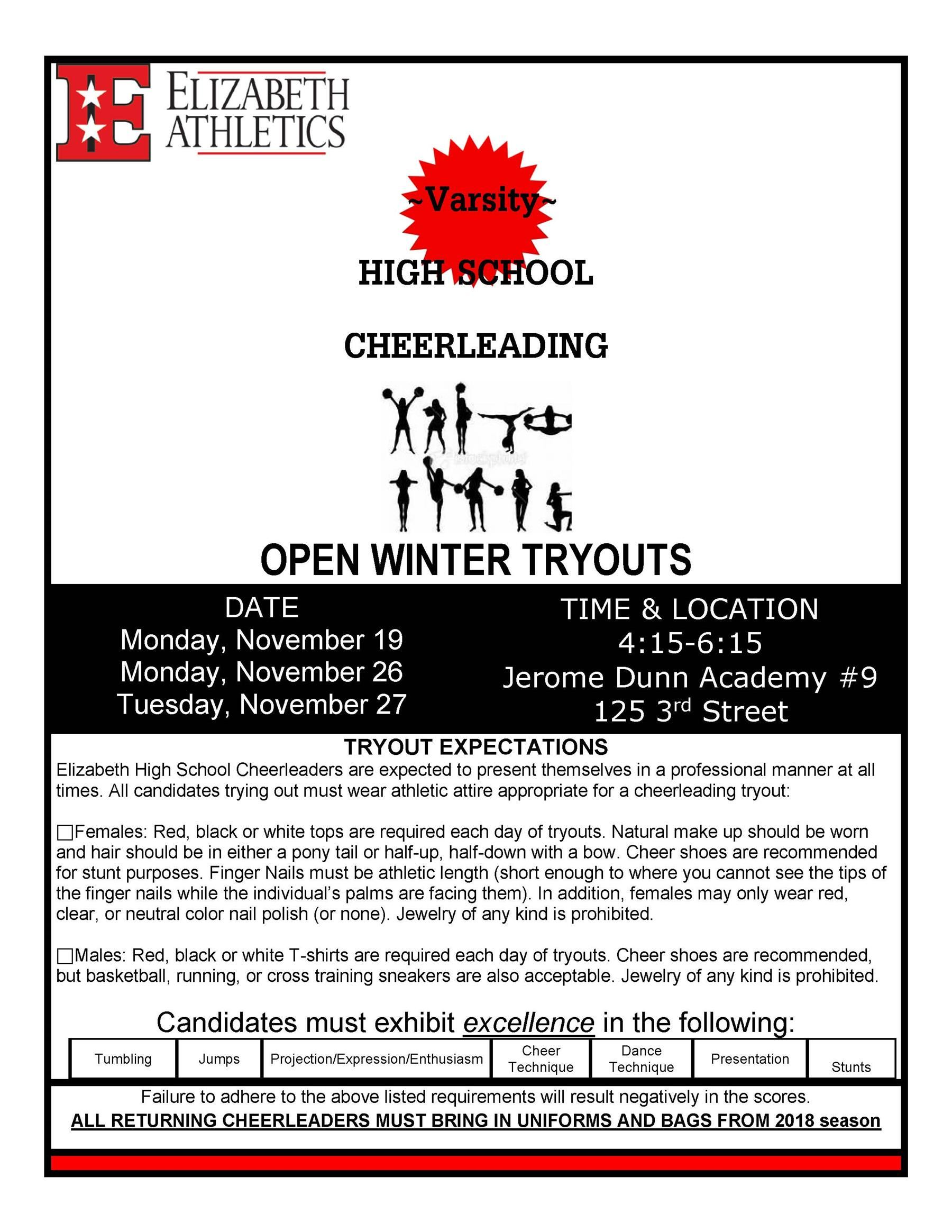 2018-19 Winter Season - HS Cheerleading Winter Squad Tryouts
