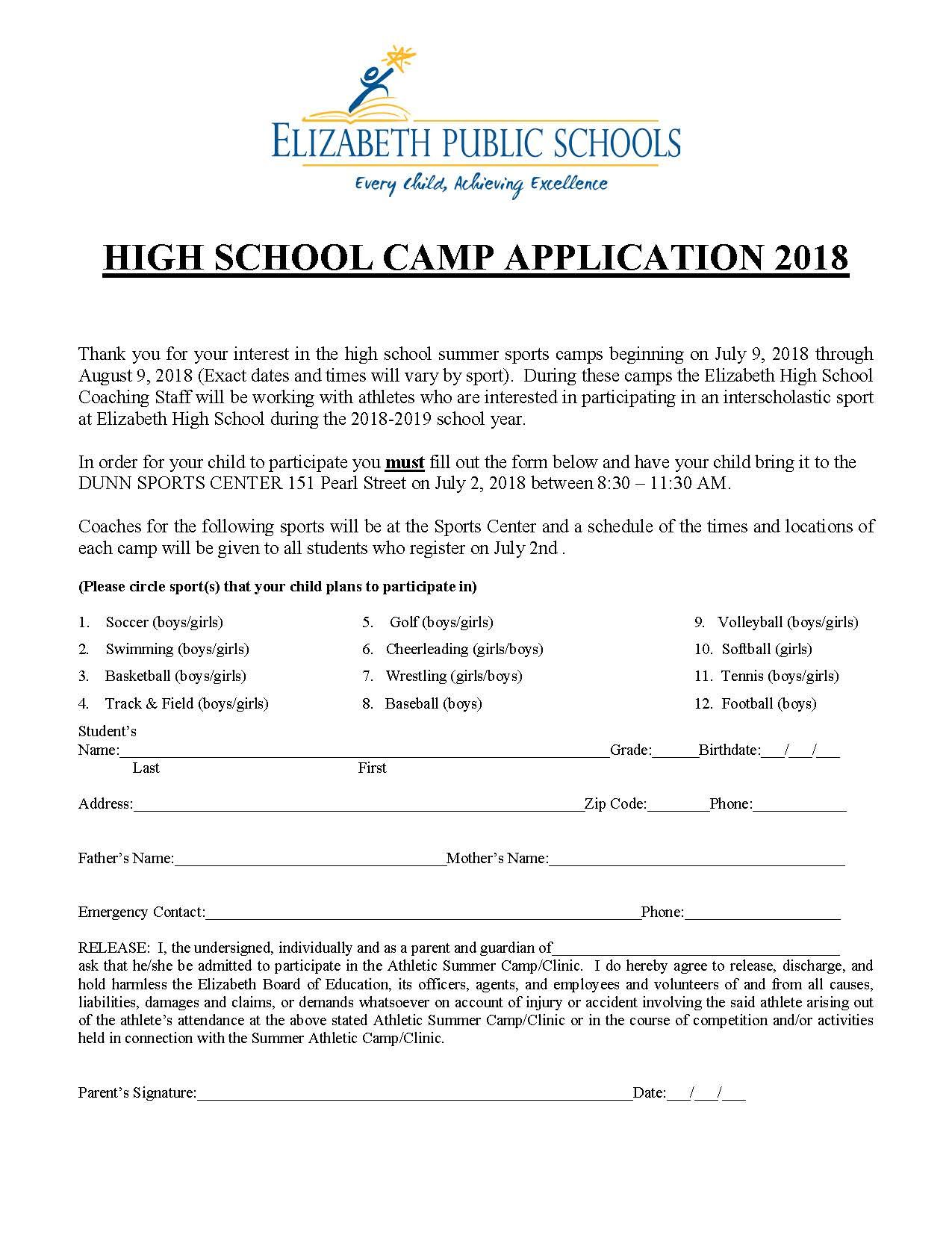 2018 High School Summer Camp Application