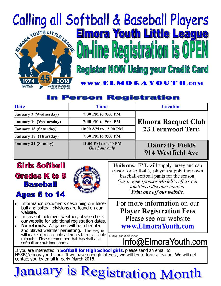 Elmora Youth League Online Registration