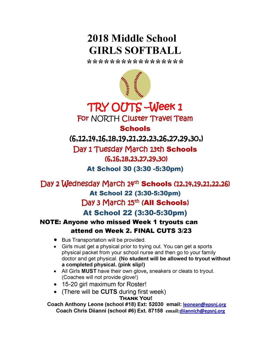 2018 Spring Season - Girls MS NORTH  Softball Tryouts Info