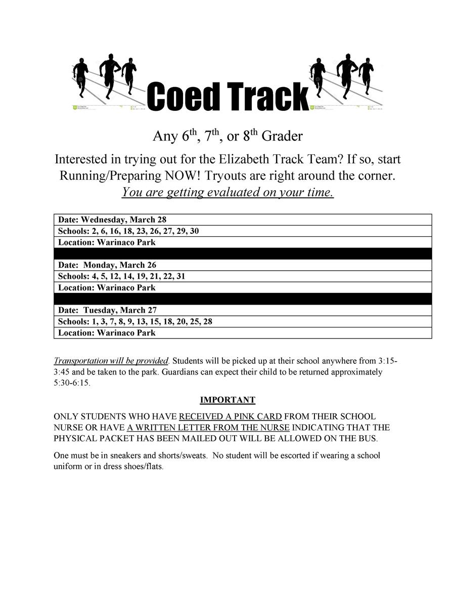 2018 Spring Season Coed MS Track Try - Outs