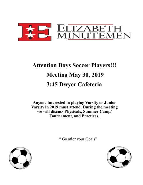 2019 Fall Season Boys HS Soccer Meeting