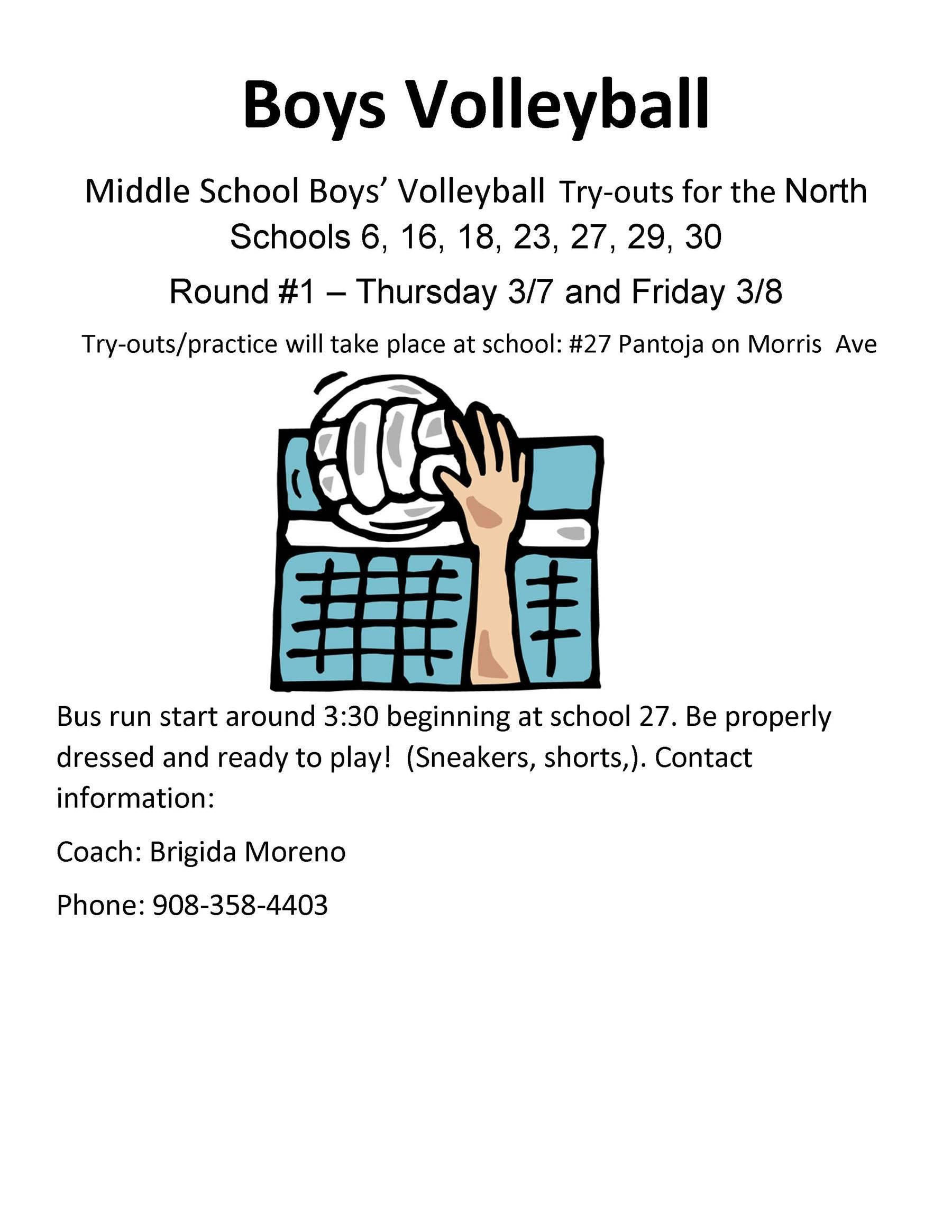 2019 Spring Season - Boys MS North Volleyball Try-Outs