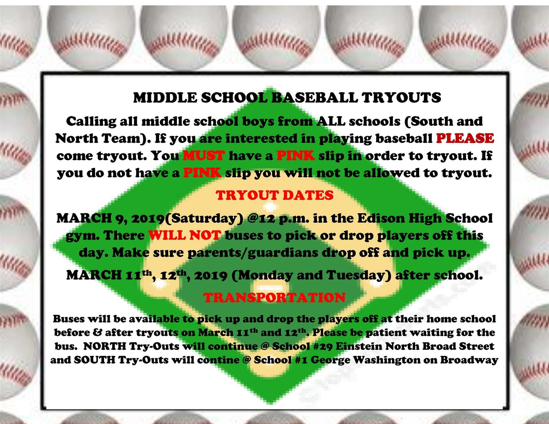 2019 Spring Season - Boys MS Baseball - Tryouts for Whole District