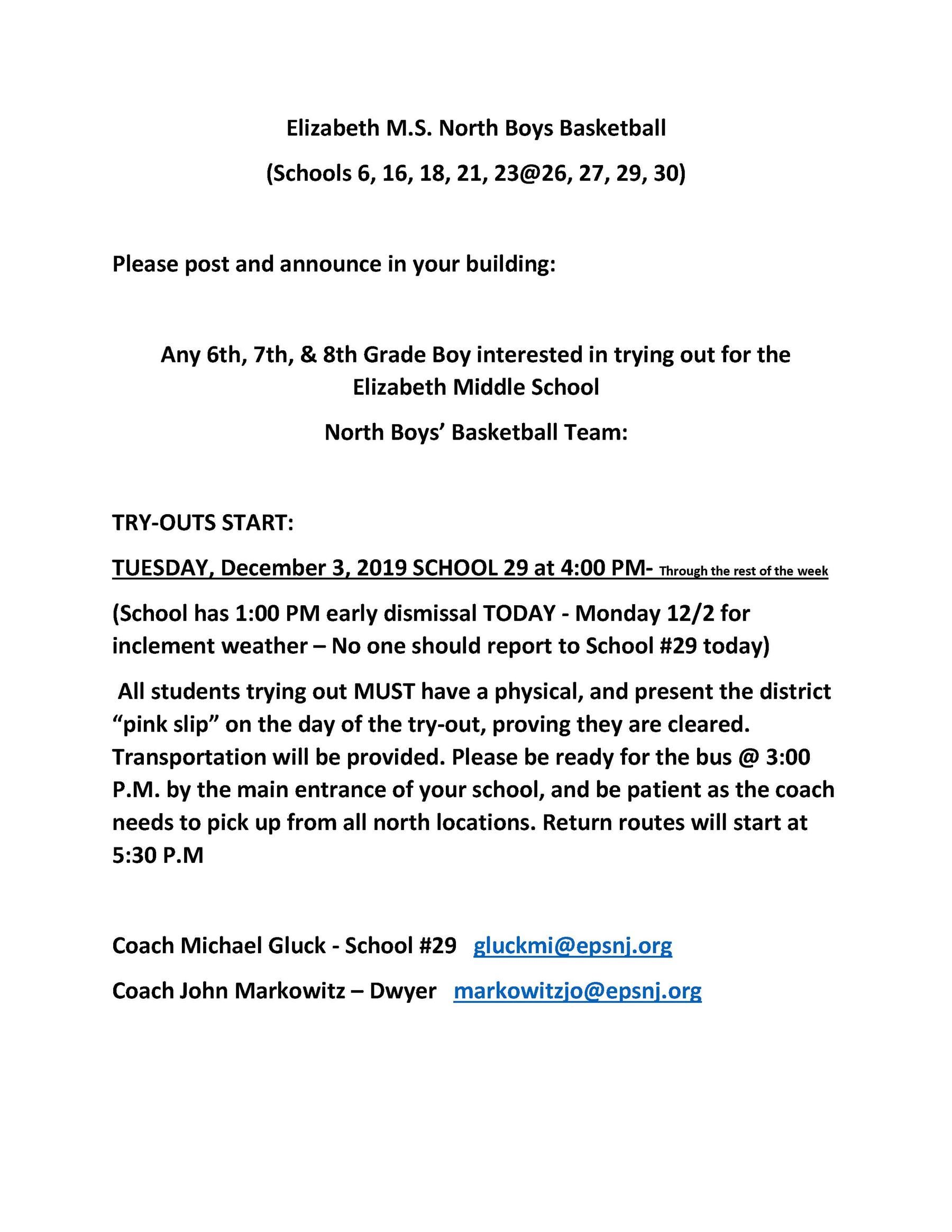 2019-2020 Winter Season - Elizabeth M.S. North Boys Basketball Tryouts