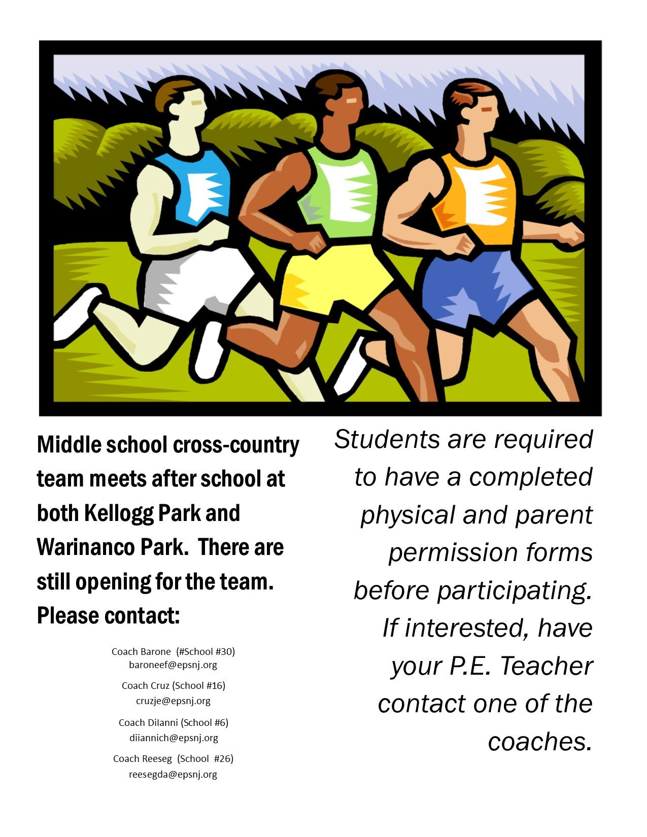 2019 Fall Season - COED MS Cross Country Try-Out Info