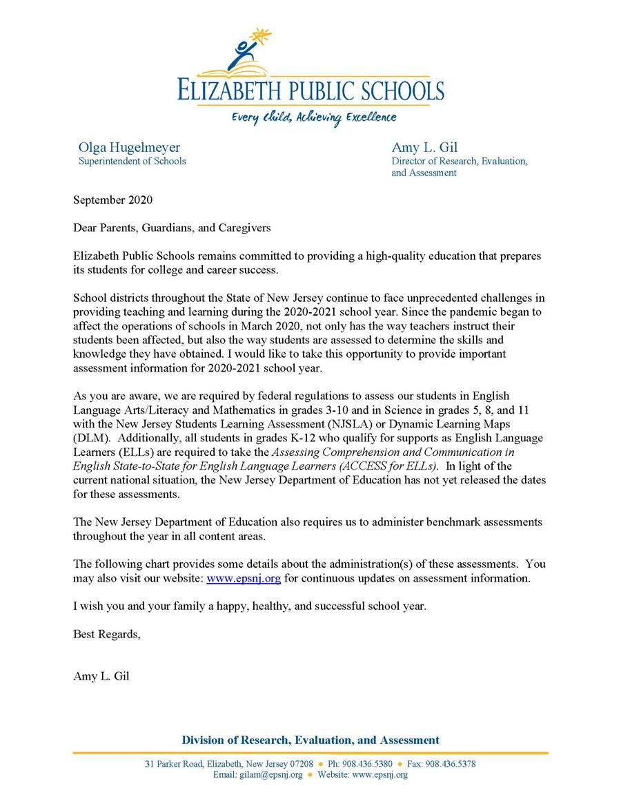 2020-2021 Assessment Letter to Parents September 2020