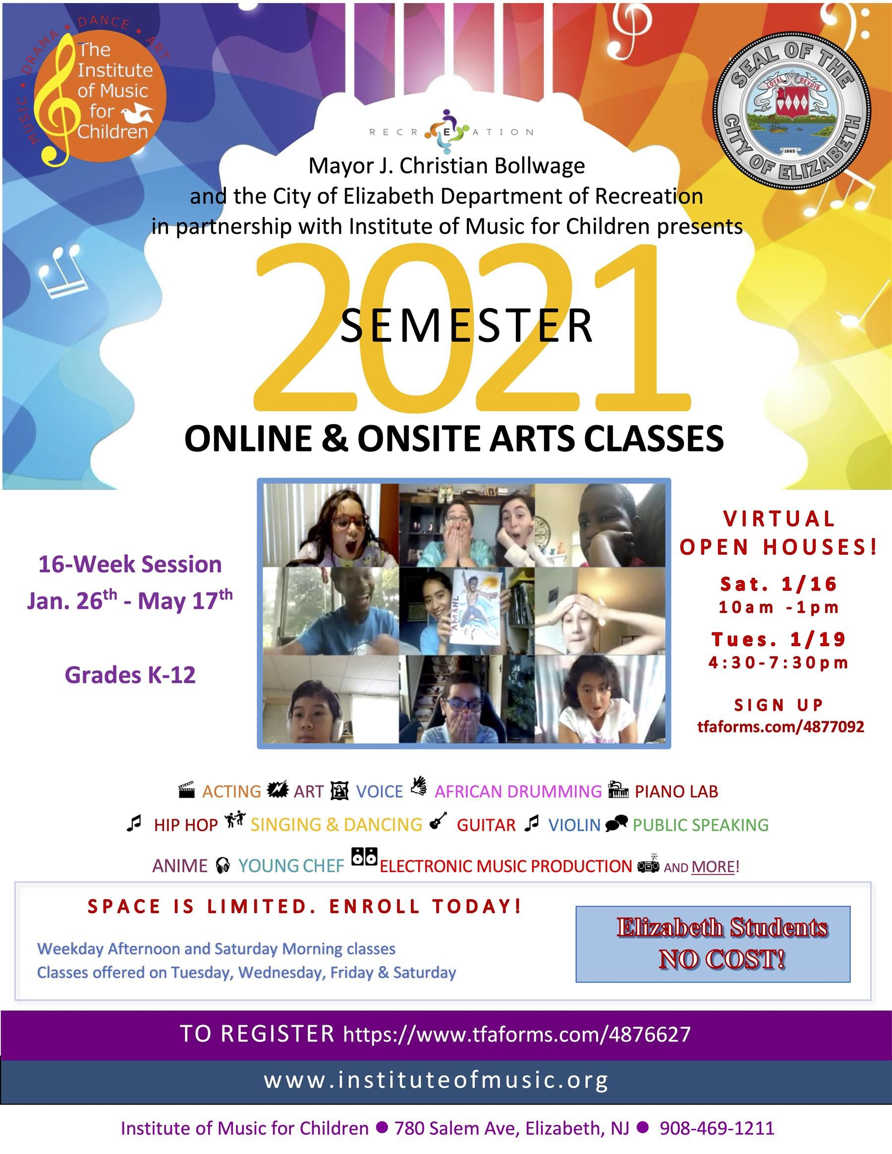 Institute of Music for Children 2021 Semester Online and Onsite Arts Classes
