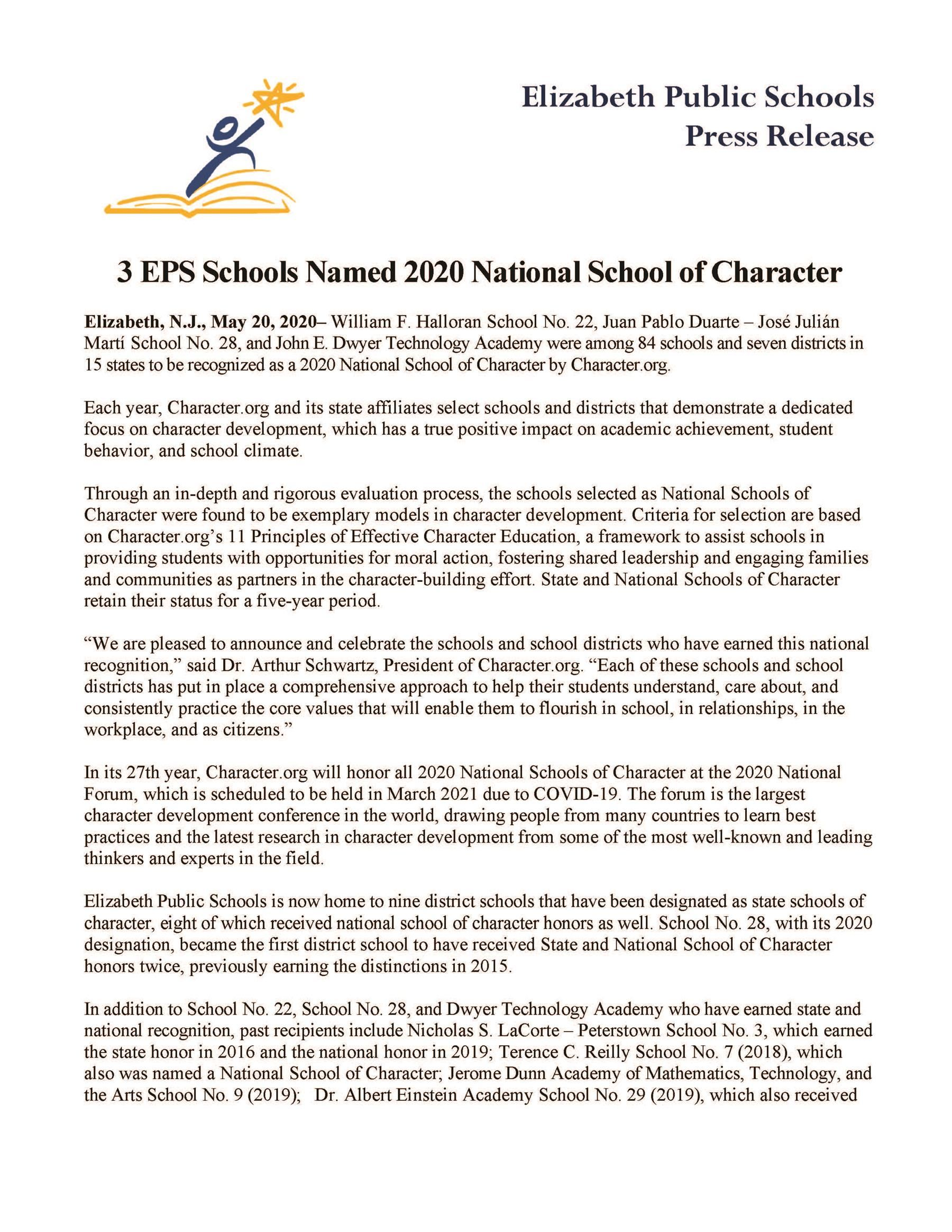 3 EPS Schools Named 2020 National School of Character