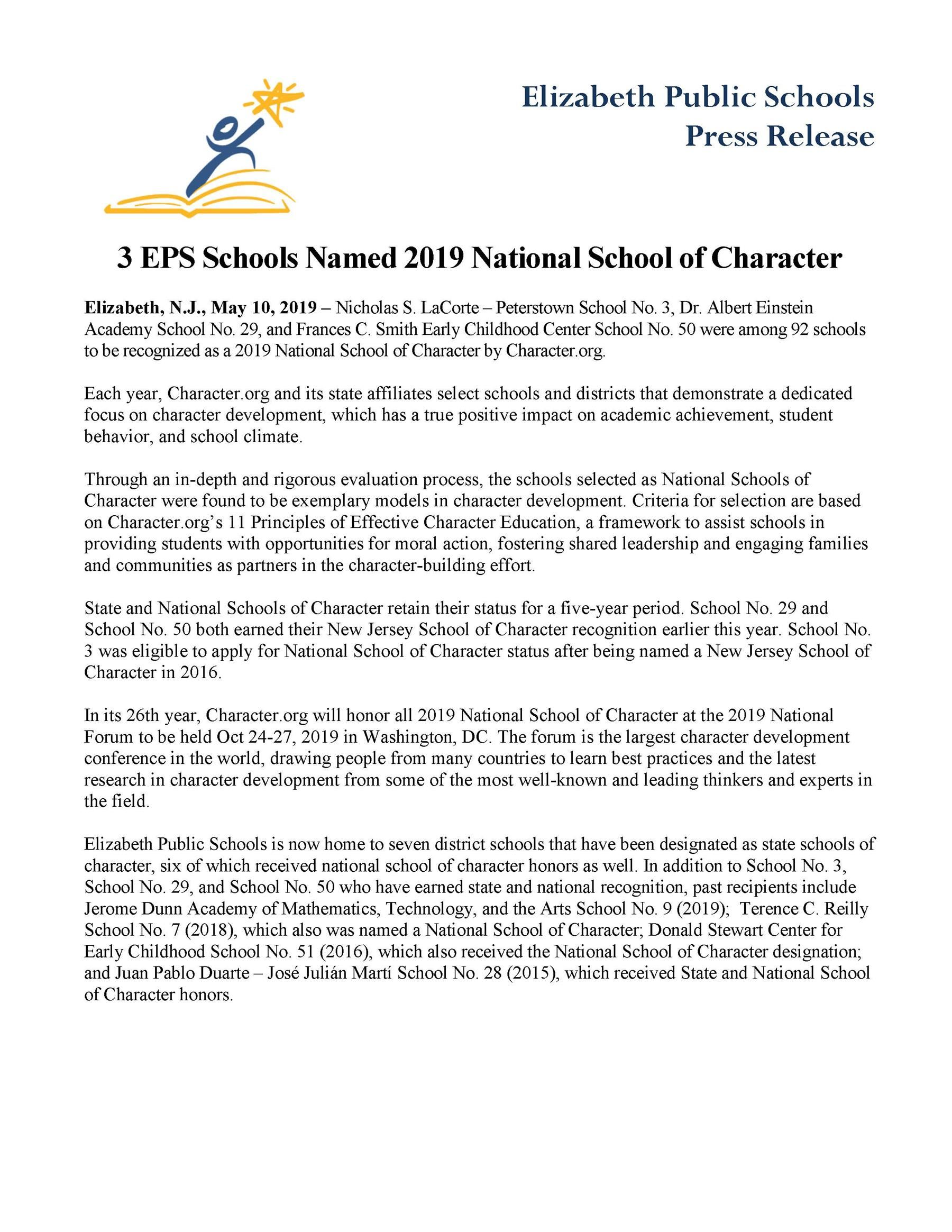 3 EPS Schools Named 2019 National School of Character - 5-10-19
