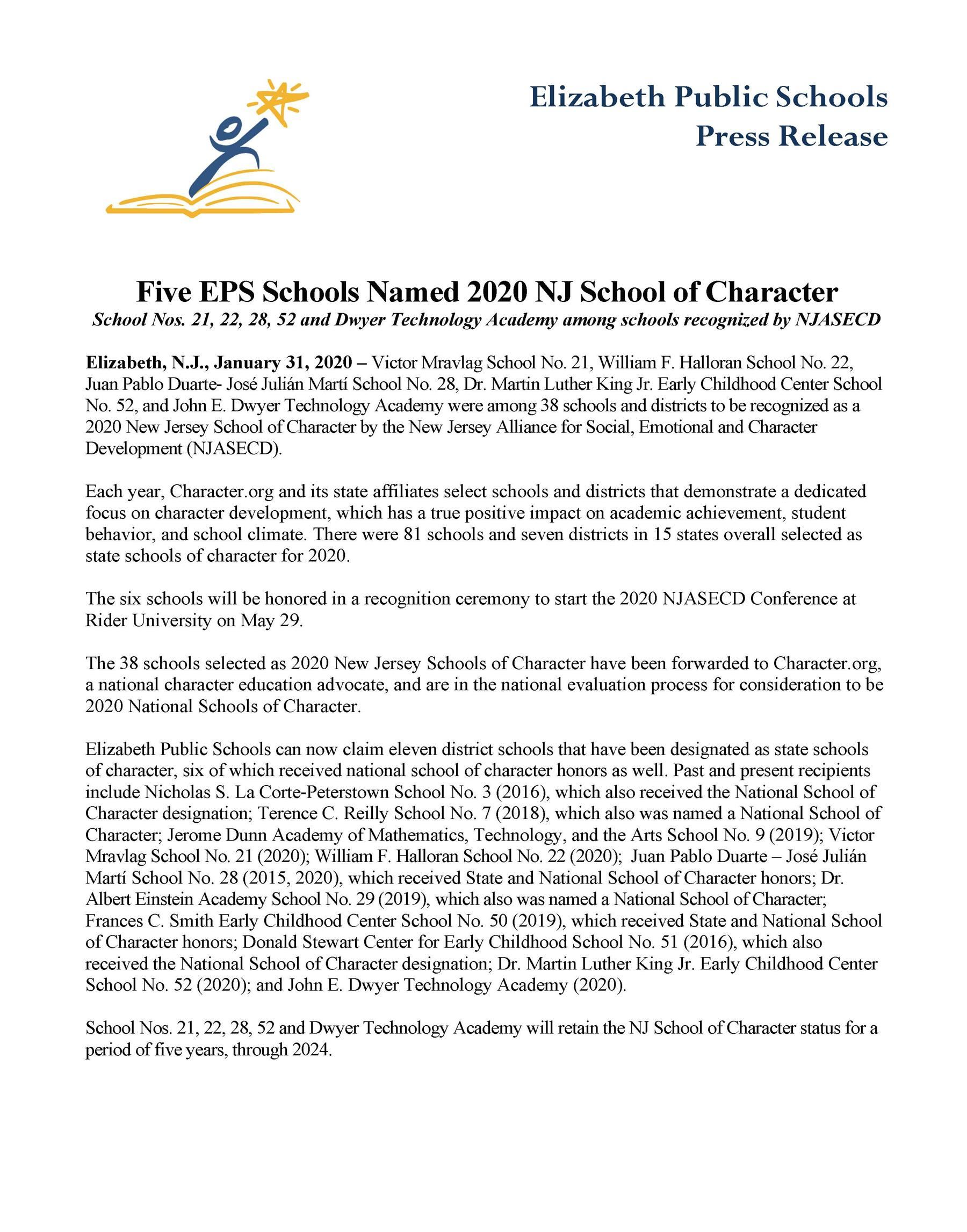 Five EPS Schools Named 2020 NJ School of Character