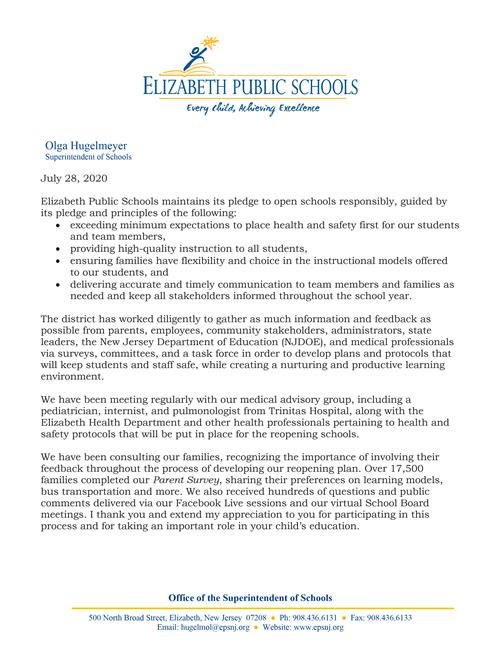 7-28-20 Letter to Parents/Guardians: Survey for In-Person or Remote Instruction