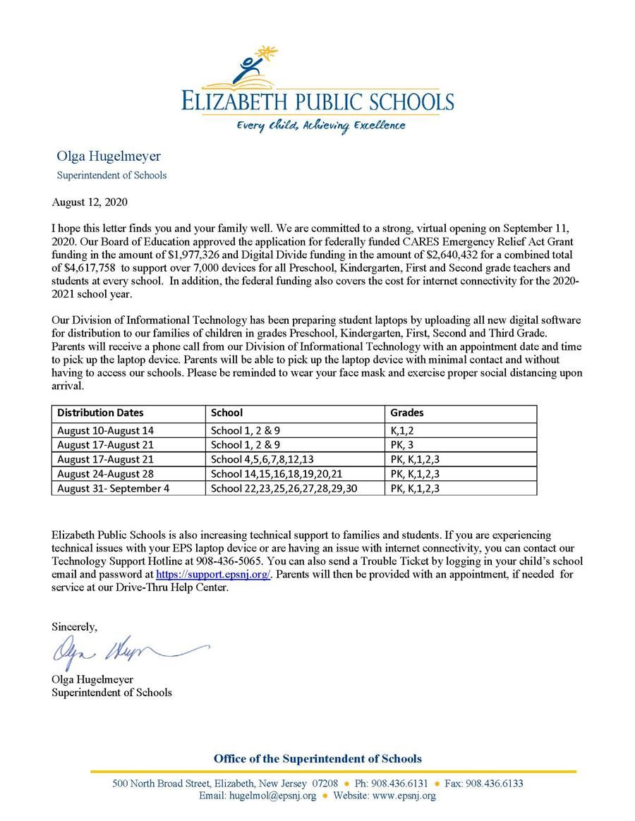 8-12-20 Superintendent's Technology Letter to Parents