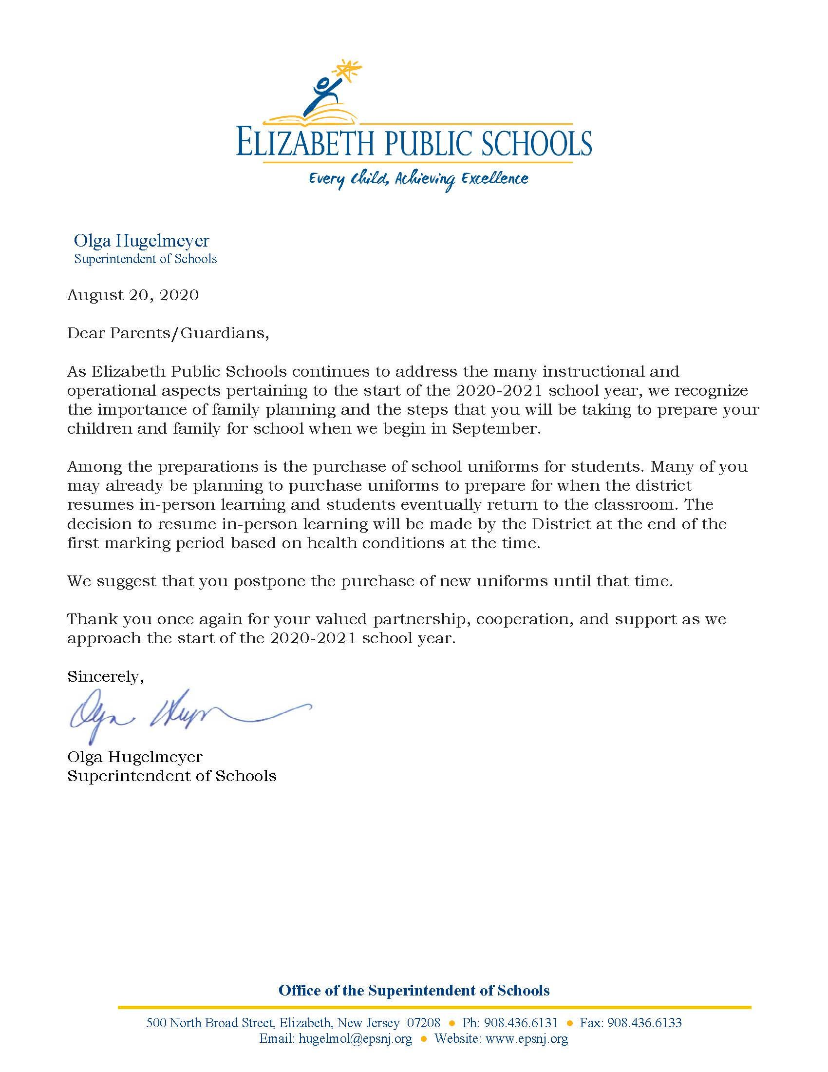 8-20-20 Letter to Parents - Uniform Purchase