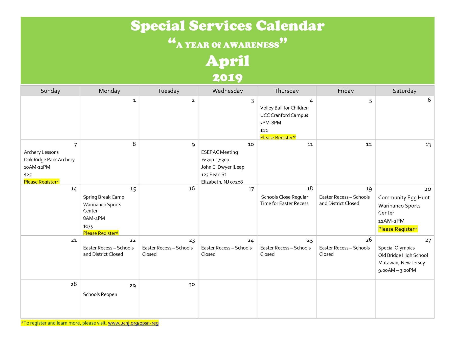 "Special Services Calendar ""A YEAR Of AWARENESS"" April 2019"