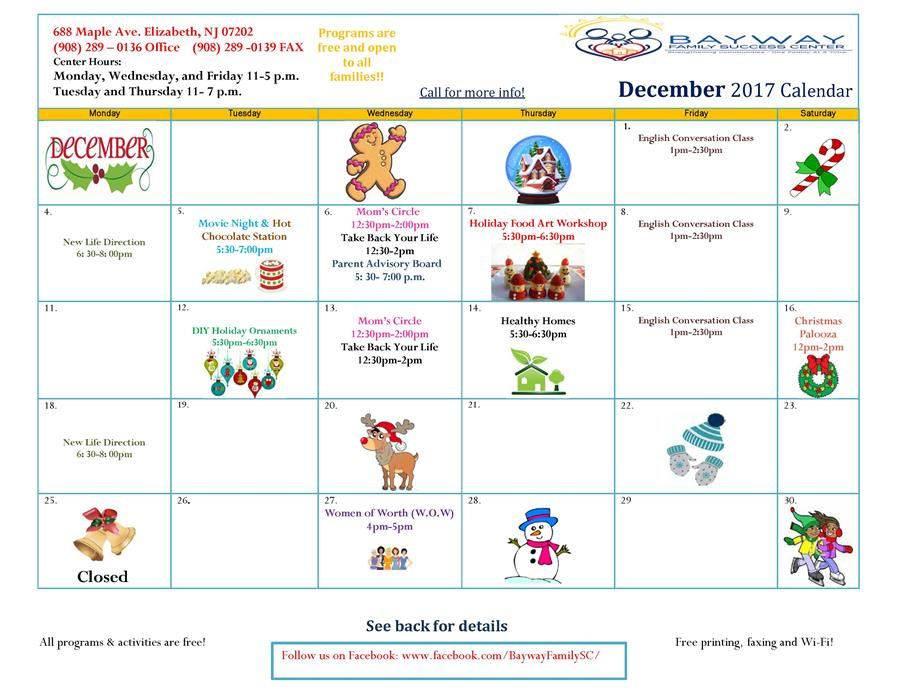 Bayway Family Success Center December Events