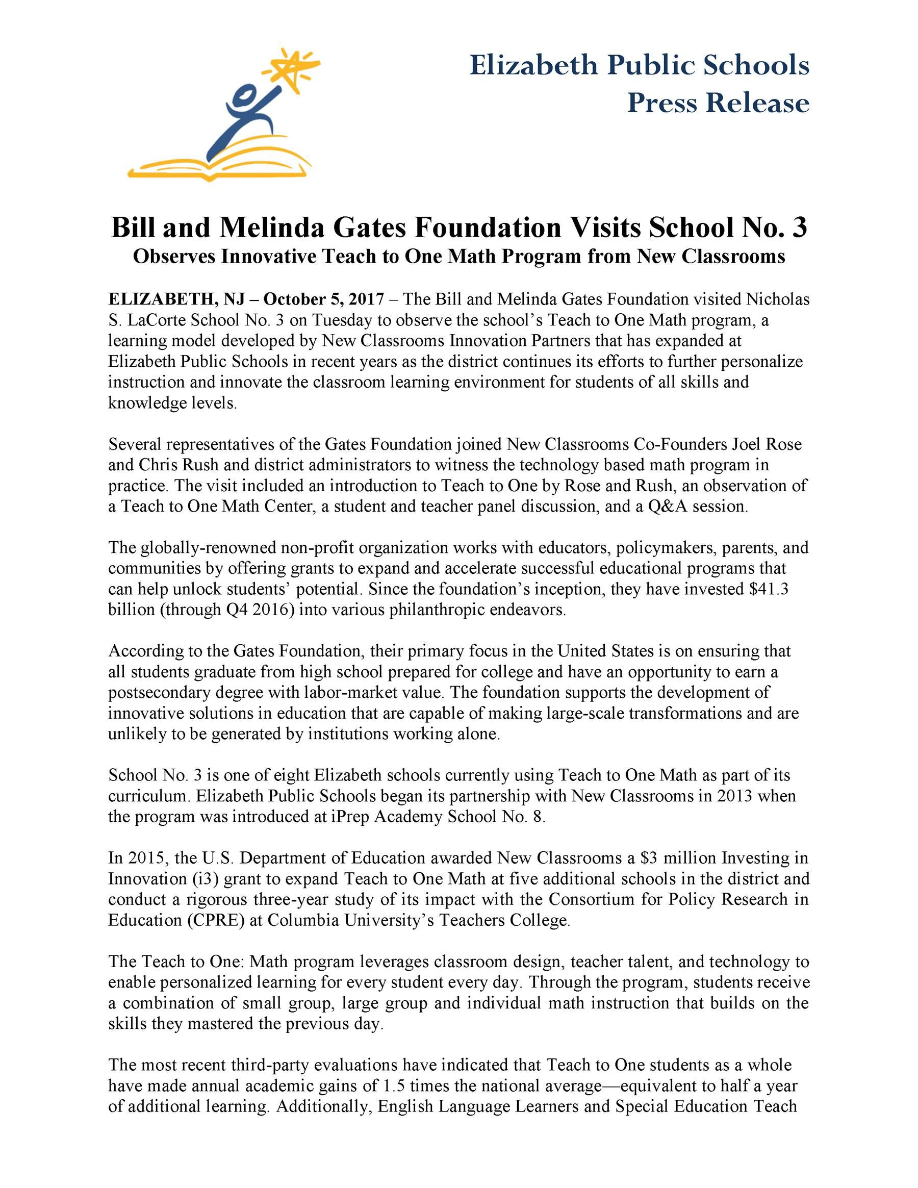 Bill and Melinda Gates Foundation Visits School No. 3  Observes Innovative Teach to One Math Program from New Classrooms