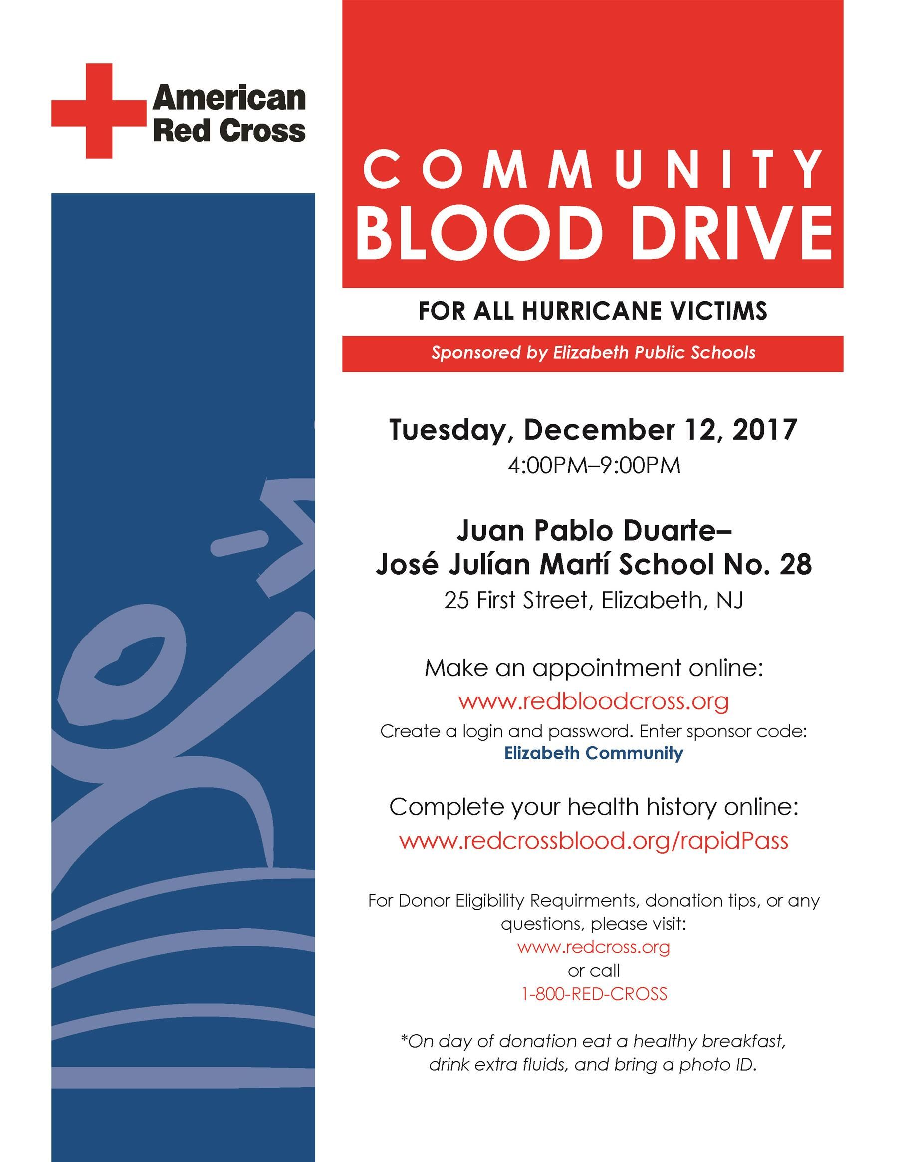 Community Blood Drive for All Hurricane Victims