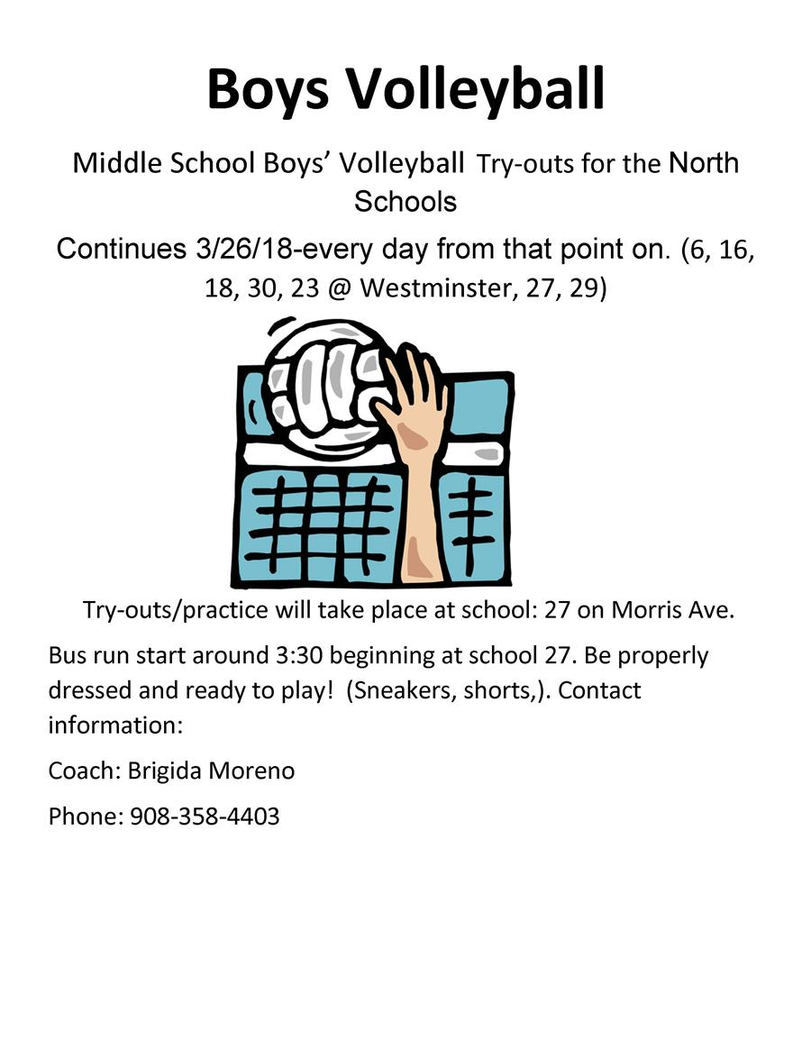 Boys MS North Volleyball Try-Outs
