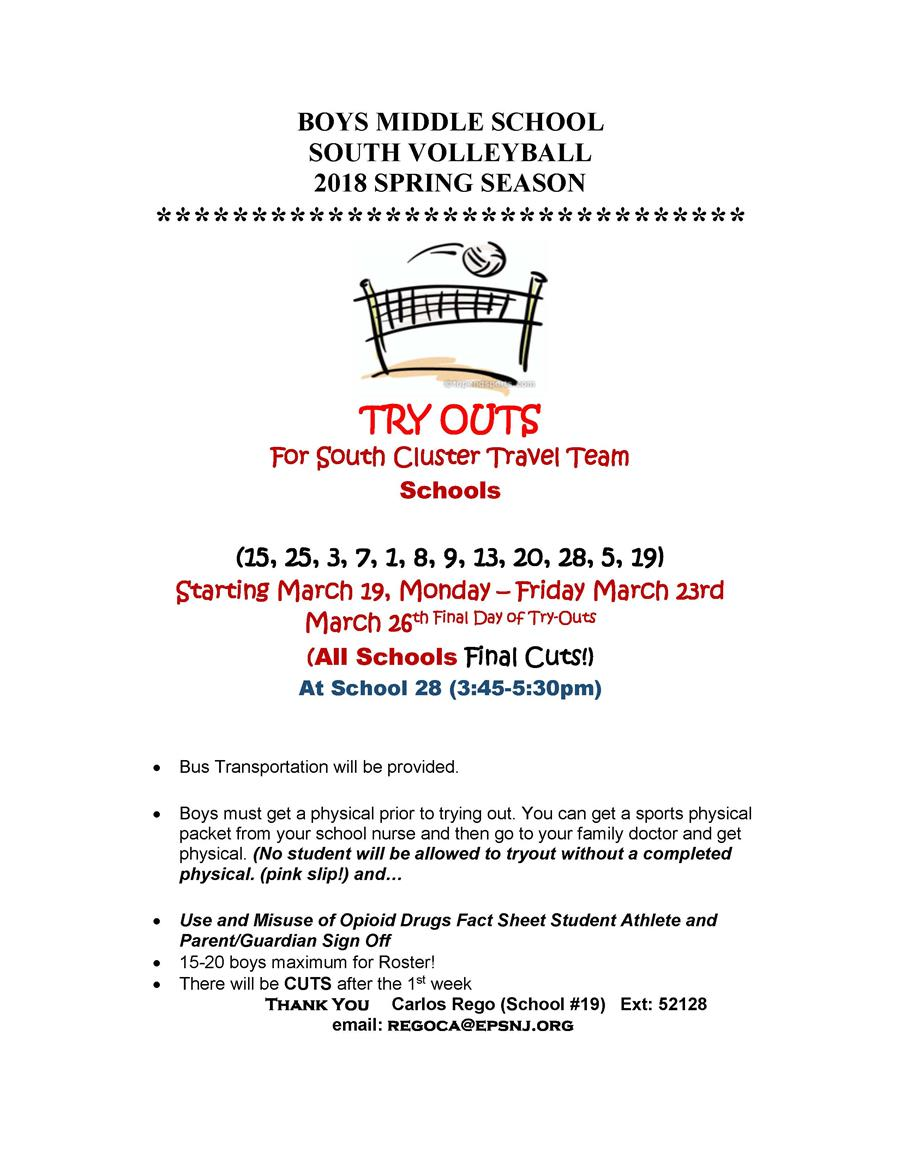 2018 Spring Season - Boys MS South Volleyball Try-Outs