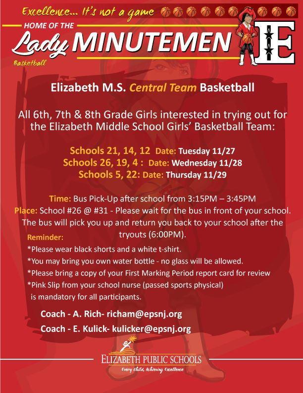 Elizabeth M.S. Central Team Girls Basketball Tryouts