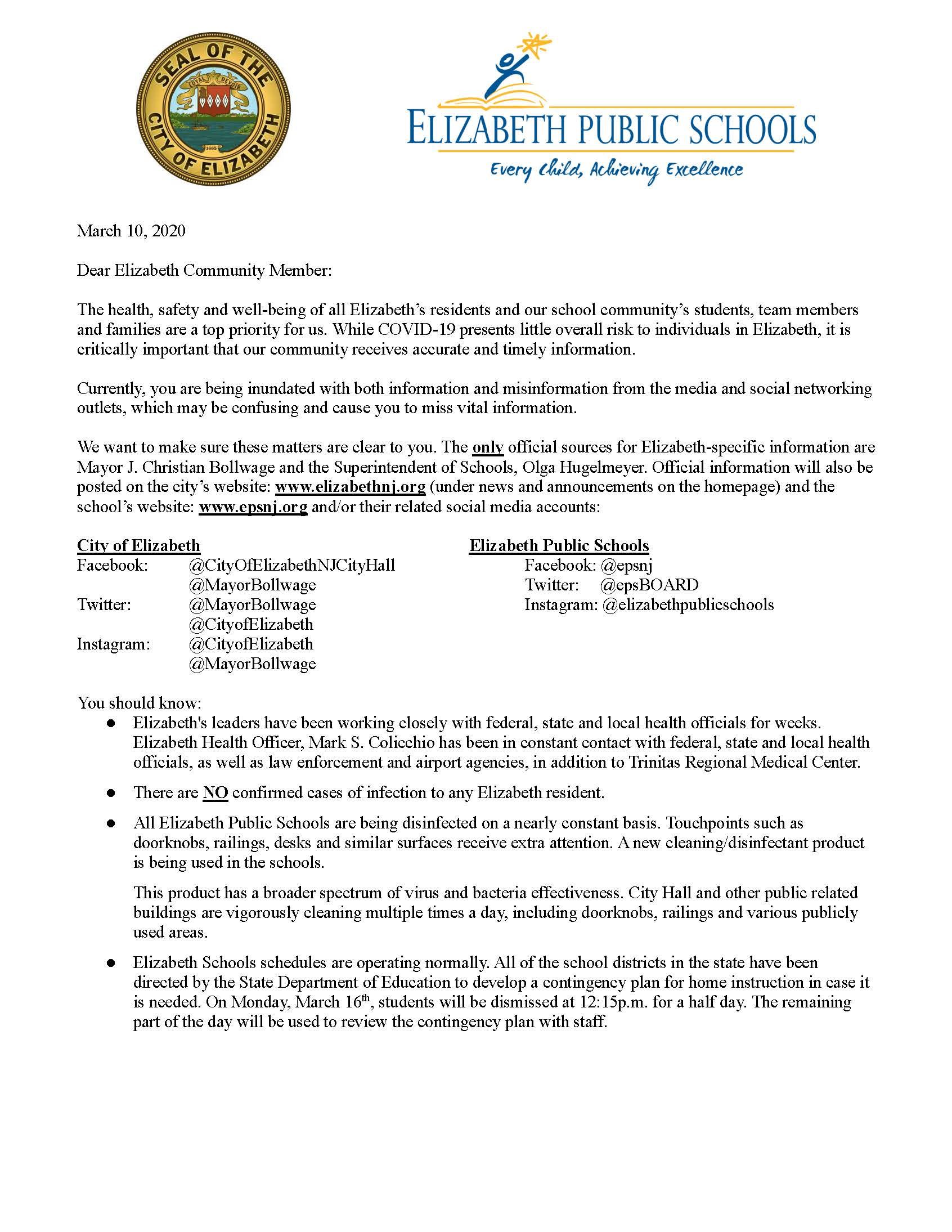 Coronavirus Letter from the Mayor and Superintendent 3-10-20