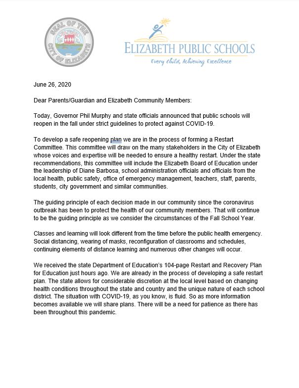 Coronavirus Letter from Mayor and Superintendent- Restart of Schools for 20-21 SY- 6-26-20