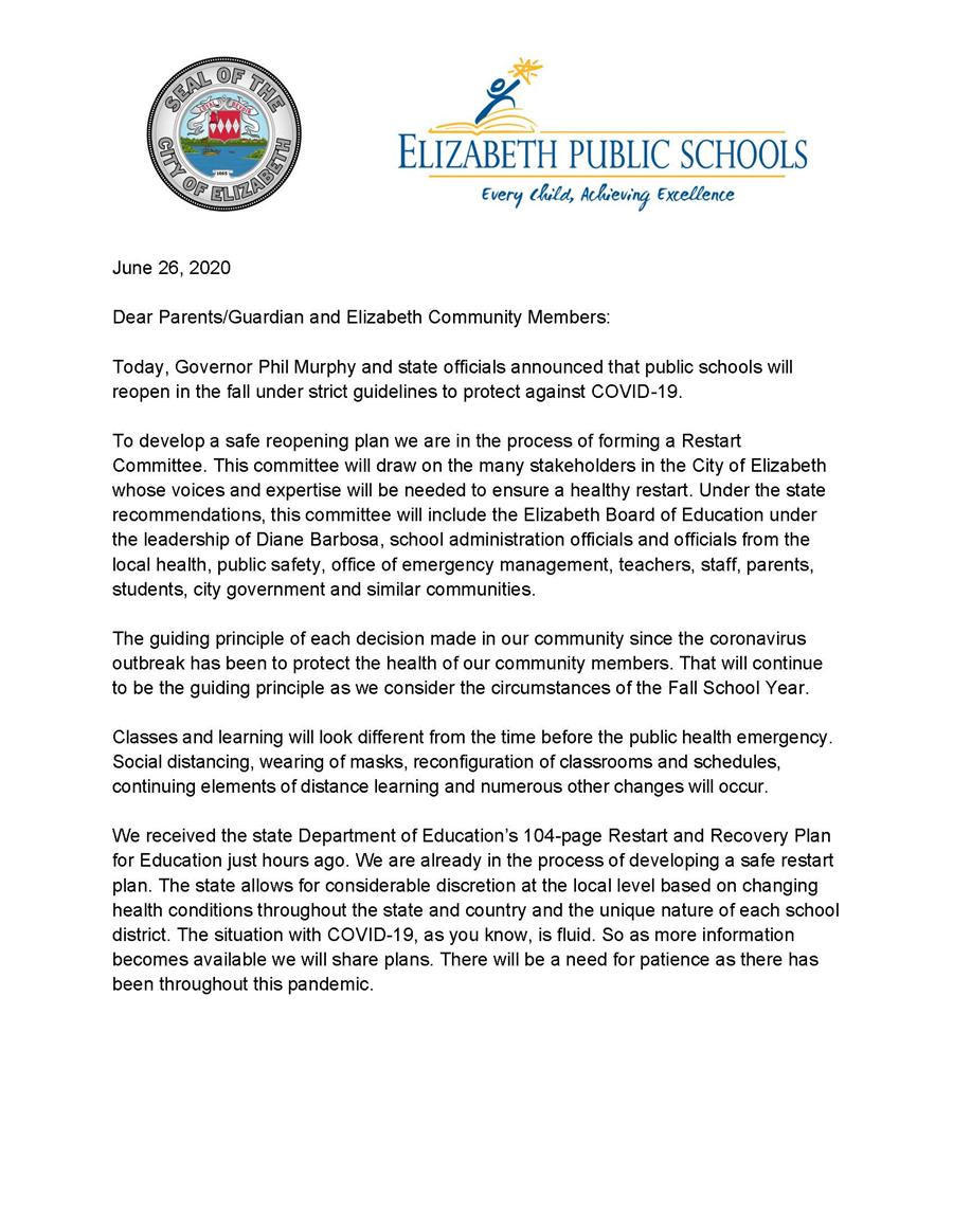 Corona virus Letter from Mayor and Superintendent -Restart of Schools for 20-21 SY -6-26-20