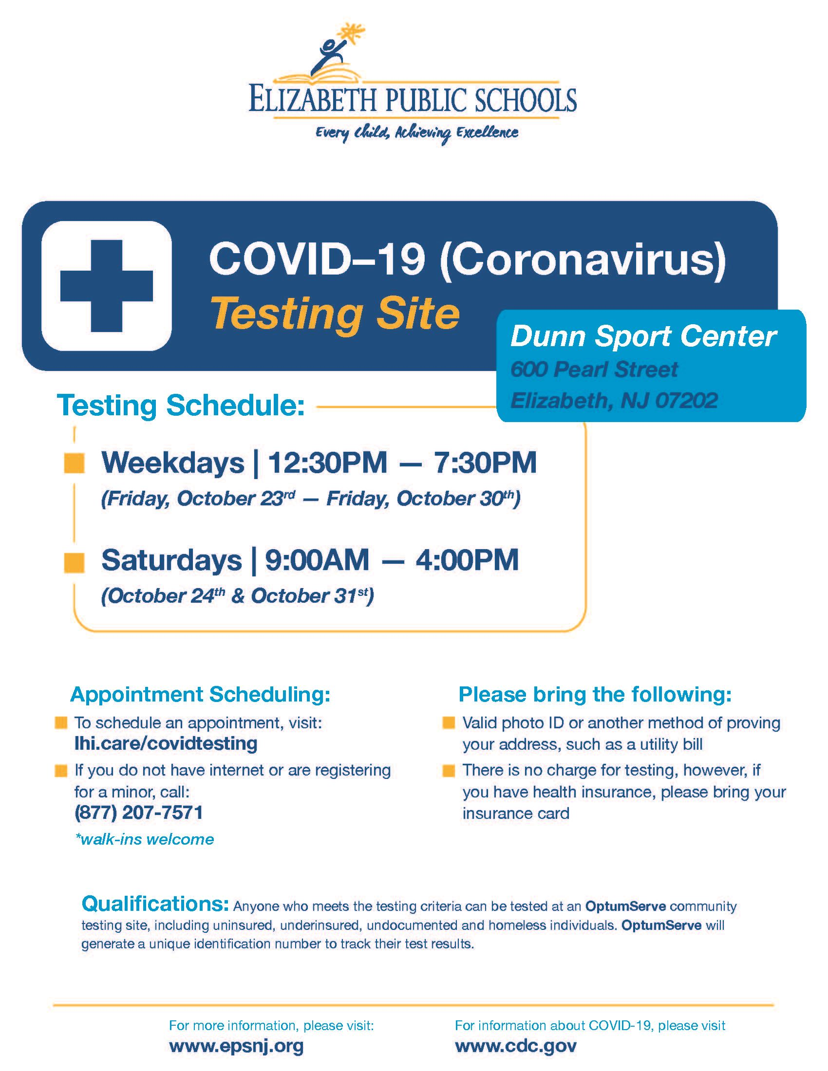 Letter to Parents and Guardians - COVID Testing at Dunn Sports Center