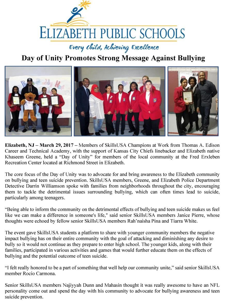 Day of Unity Promotes Strong Message Against Bullying