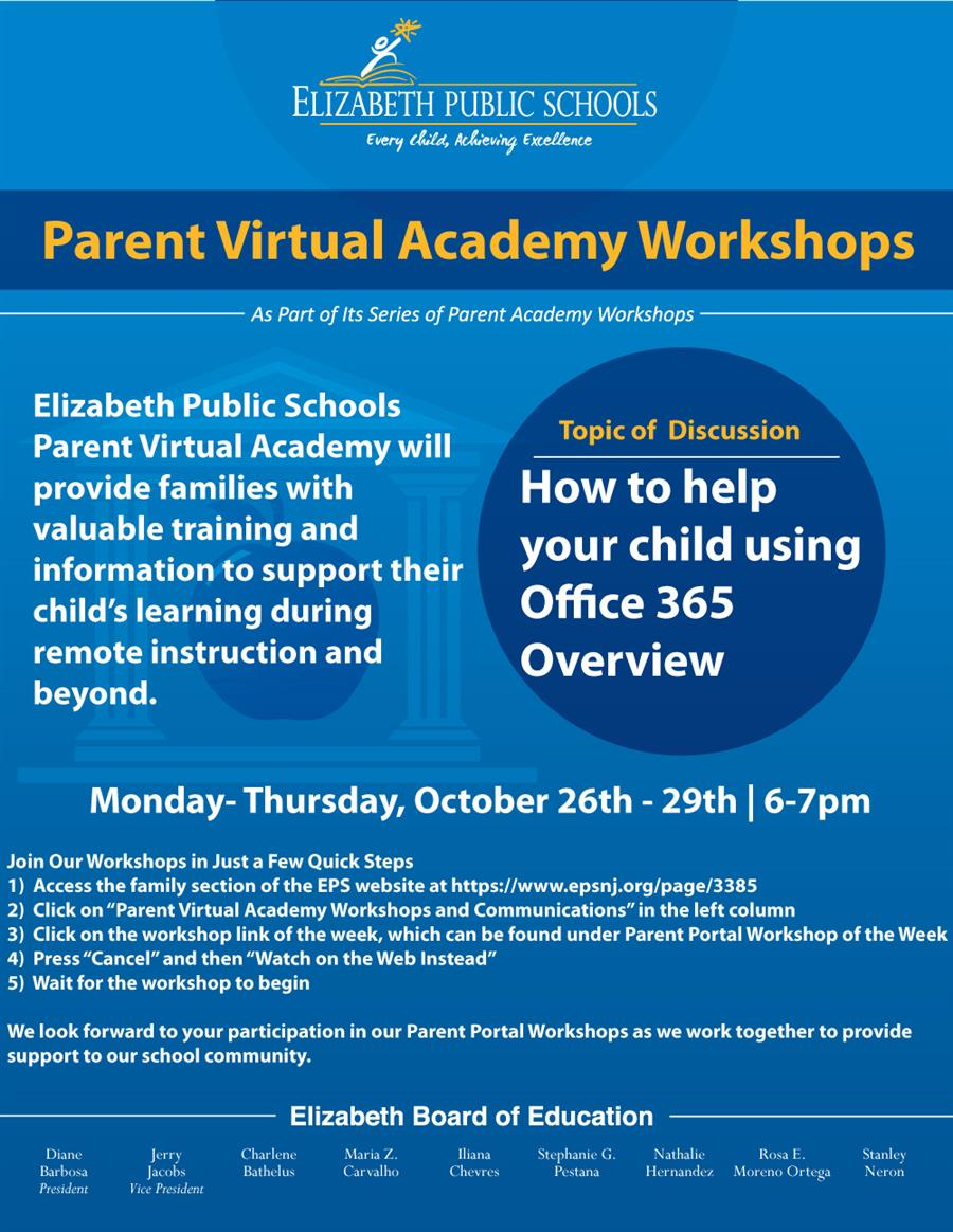 Parent Virtual Academy Workshops - How to help your child using Office 365 Overview
