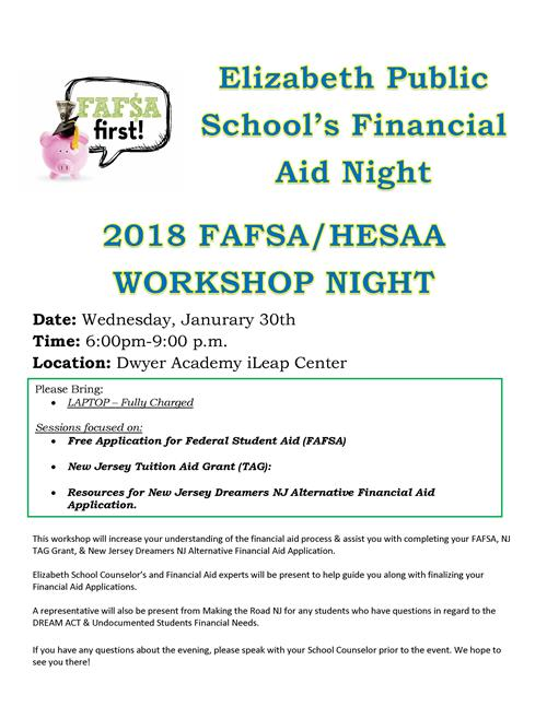 Elizabeth Public School's Financial Aid Night 2018 FAFSA/HESAA WORKSHOP NIGHT
