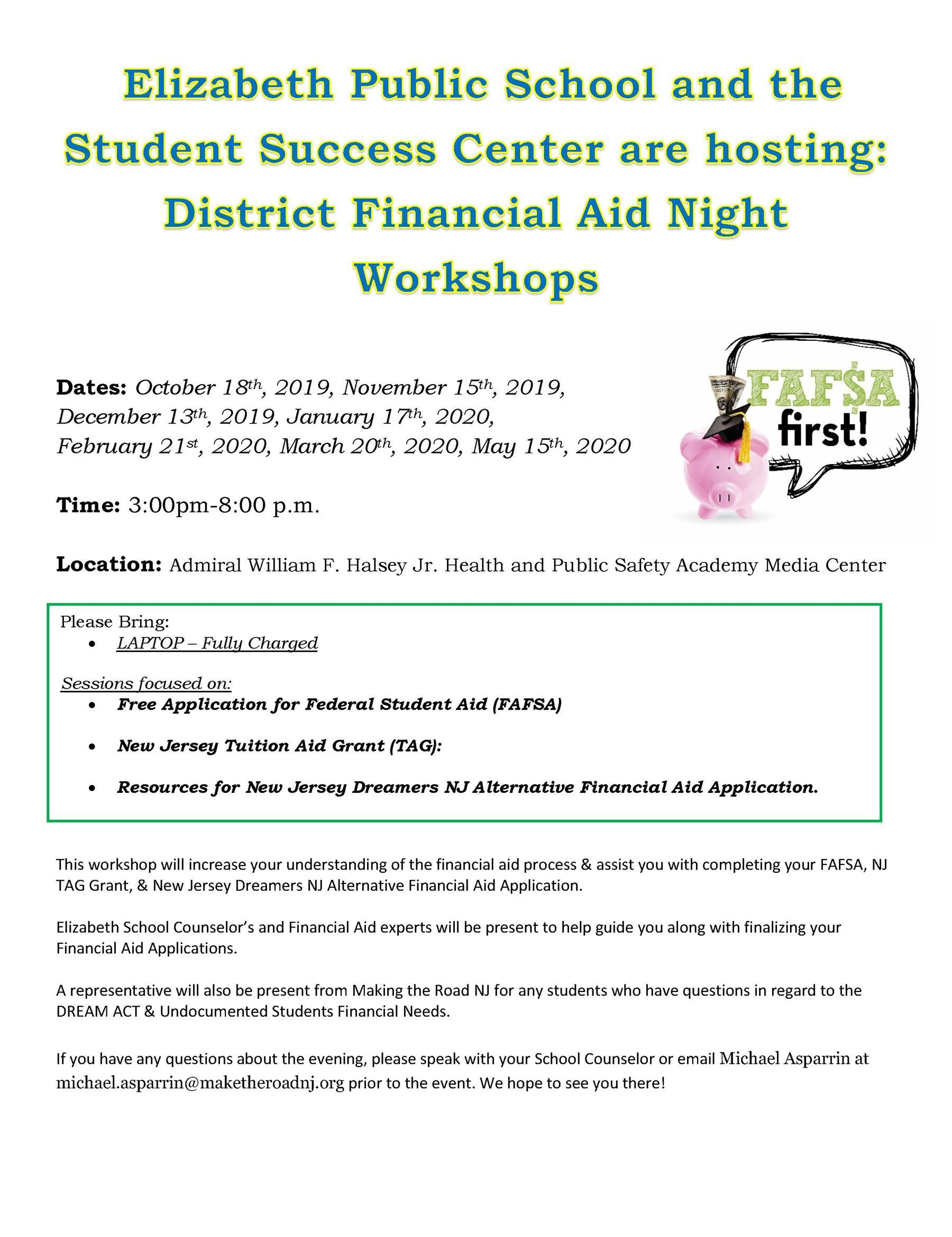 District Financial Aid Night Workshops