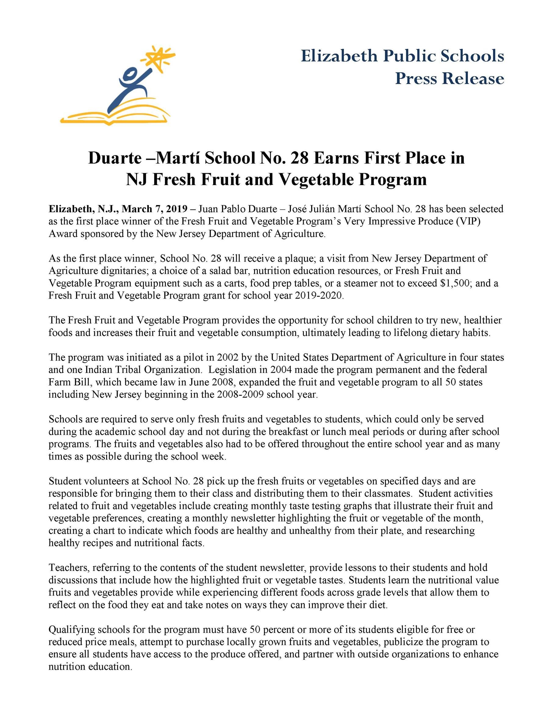 Duarte Martí School No 28 Earns First Place in NJ Fresh Fruit and Vegetable Program- 3-7-19