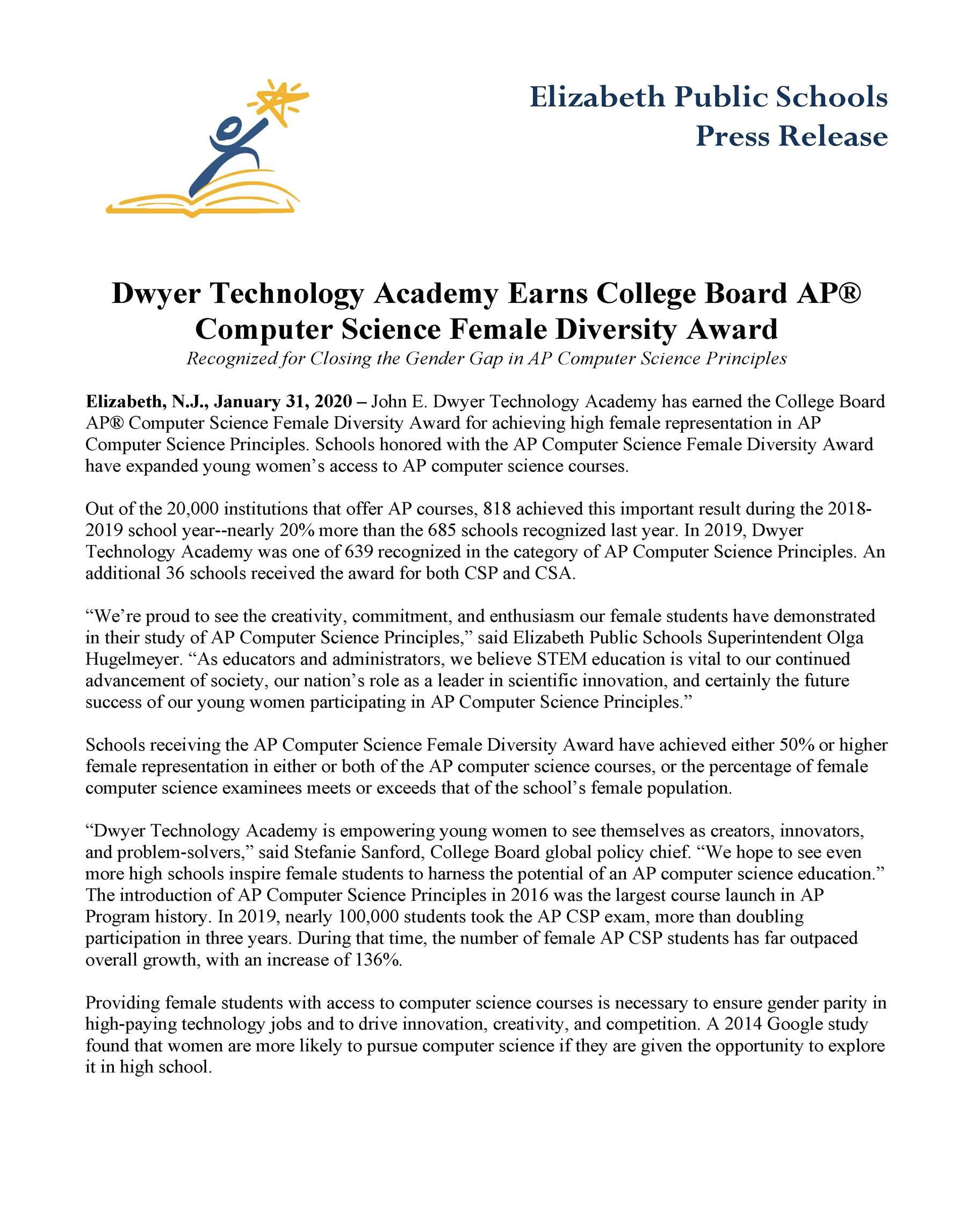 Dwyer Technology Academy Earns College Board AP®  Computer Science Female Diversity Award