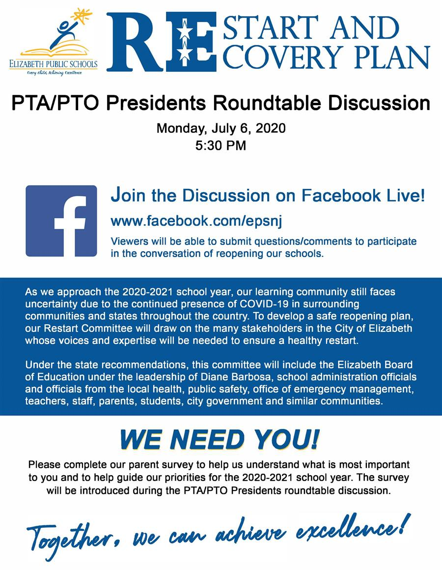 EPS PTA-PTO 20-21 Restart of Schools Roundtable Discussion