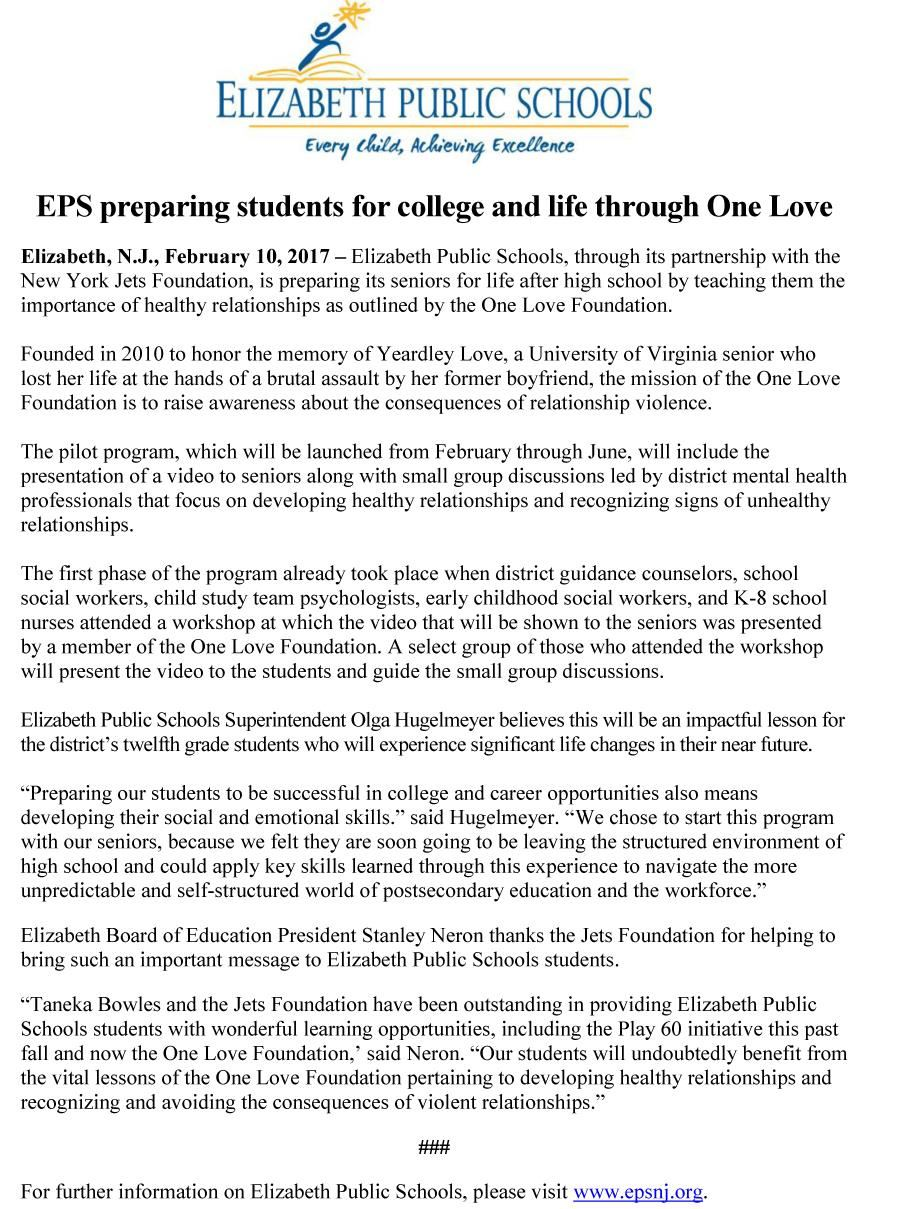 EPS preparing students for college and life through One Love