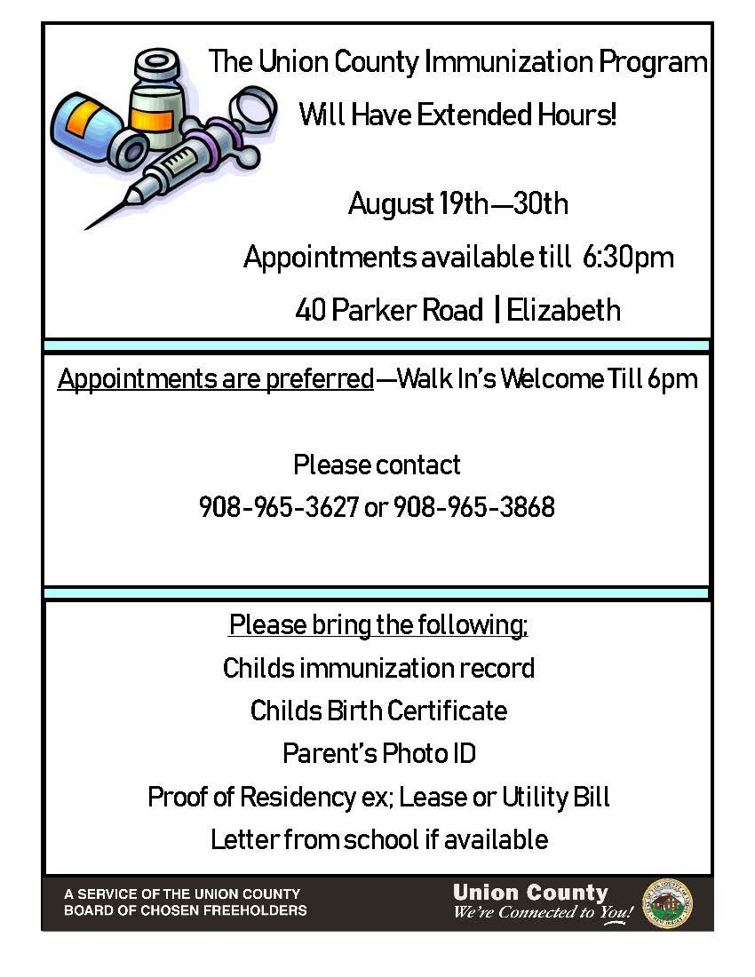 The Union County Immunization Program Will Have Extended Hours!