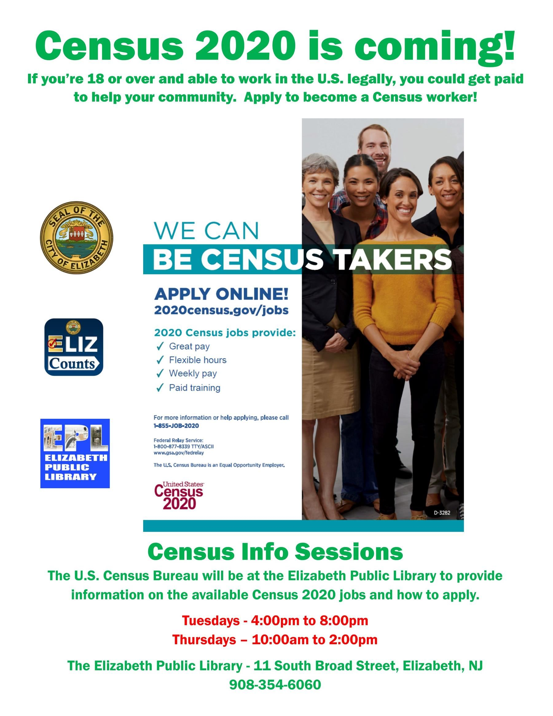 Census Worker Recruitment Events at the Elizabeth Public Library