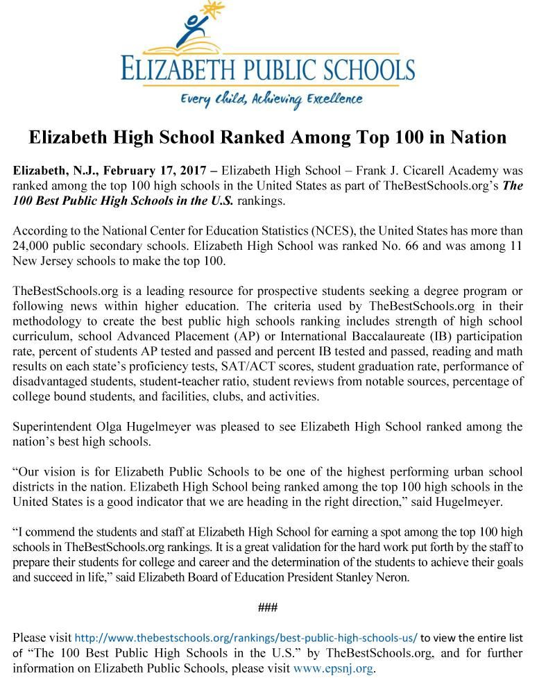 Elizabeth High School Ranked Among Top 100 in Nation